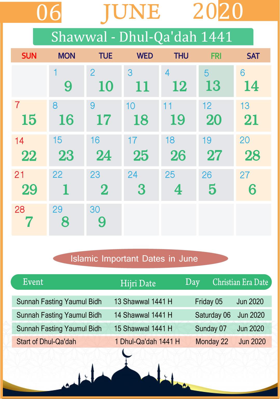 Islamic Calendar June 2020 | Year inside Kannada Calendar 2020 July