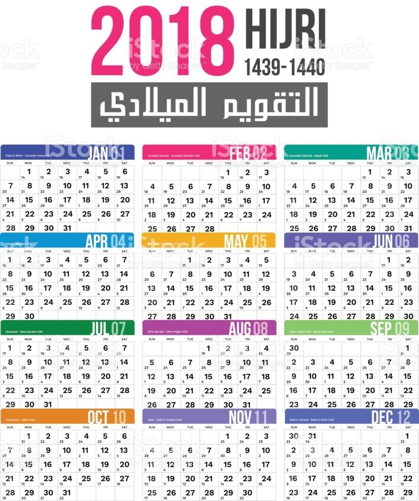 Islamic Hijri Calendar Template Vector Design For 14391440 in 1440 Hijri Calendar
