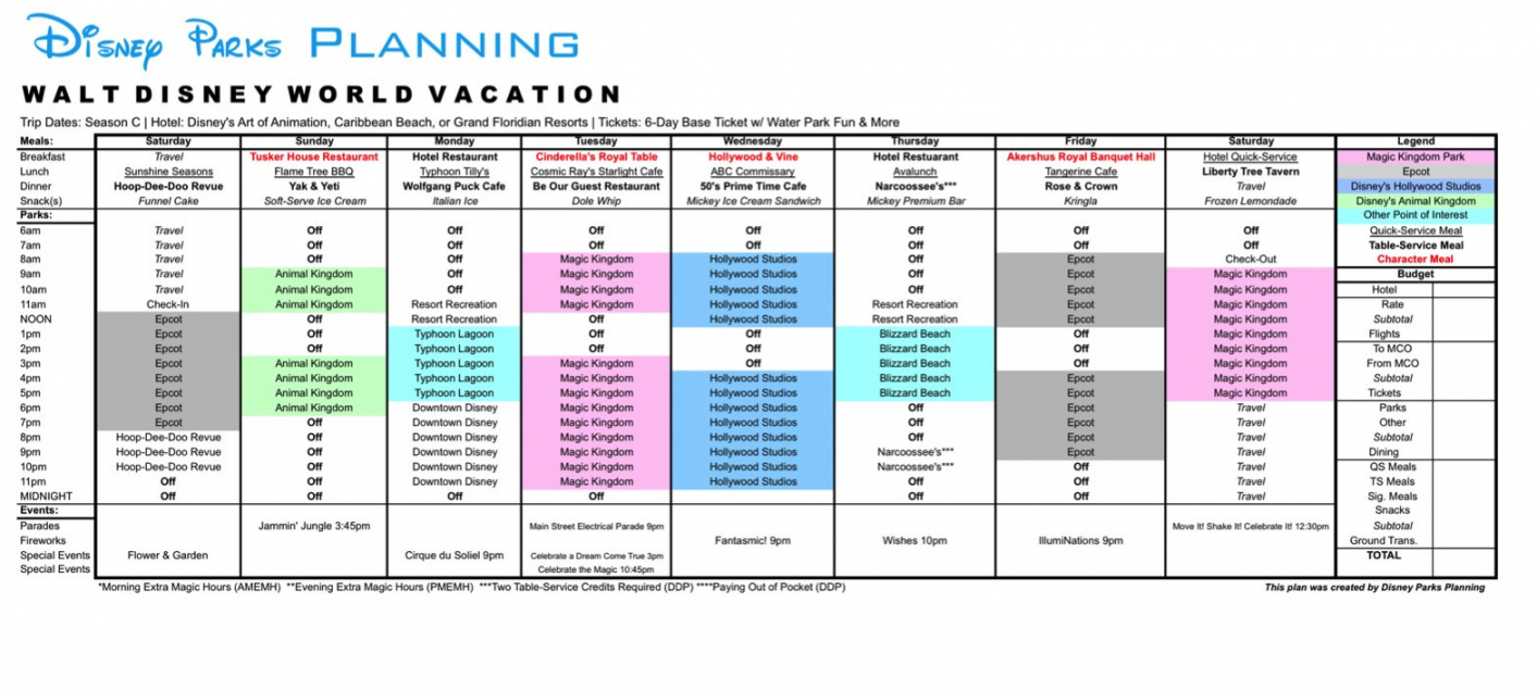 Itinerary Template: Itinerary Template Disney throughout Disney Vacation Planner Template