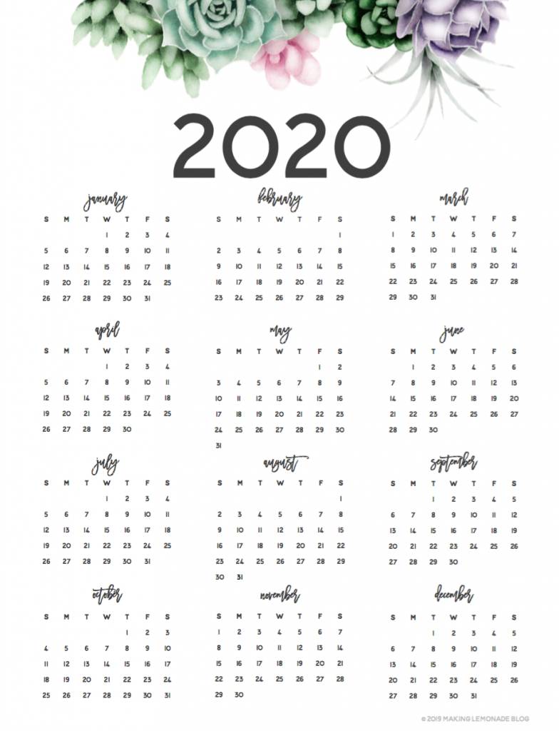 It's Here! Get Your Free 2020 Printable Planner! | Making with Pretty Printable Calendar
