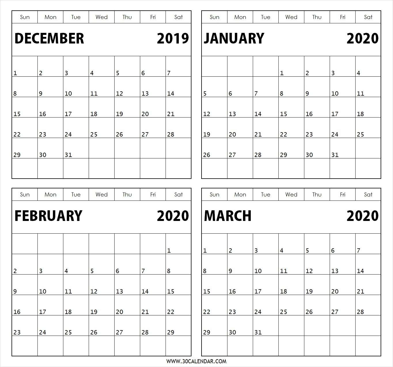Jan 2019 To March 2020 Calendar | Calendar Template Information with regard to February And March 2020