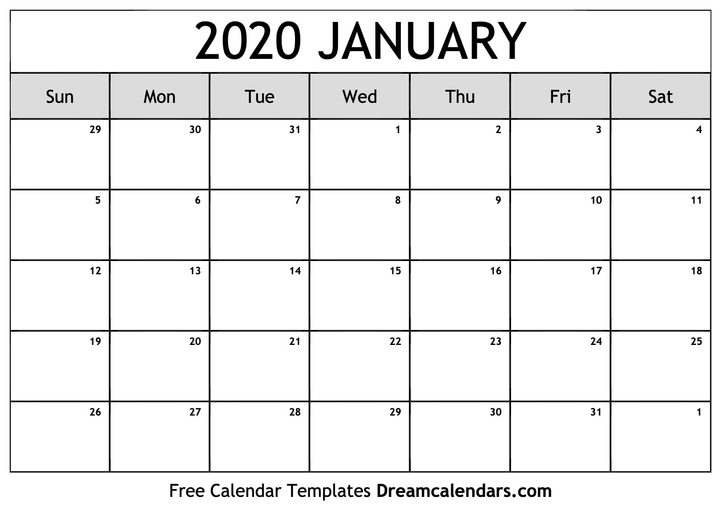 Jan 2020 Calendar Template  Yatay.horizonconsulting.co with regard to January 2020 Calendar 123Calendars