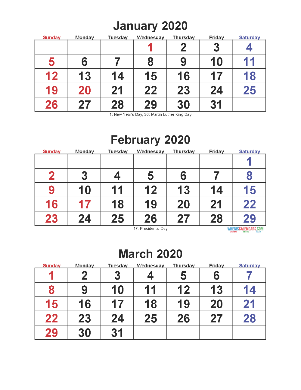 Jan Feb Mar 2020 Calendar 3 Months Per Page | Free Printable inside 3 Month Calendar Printable 2020