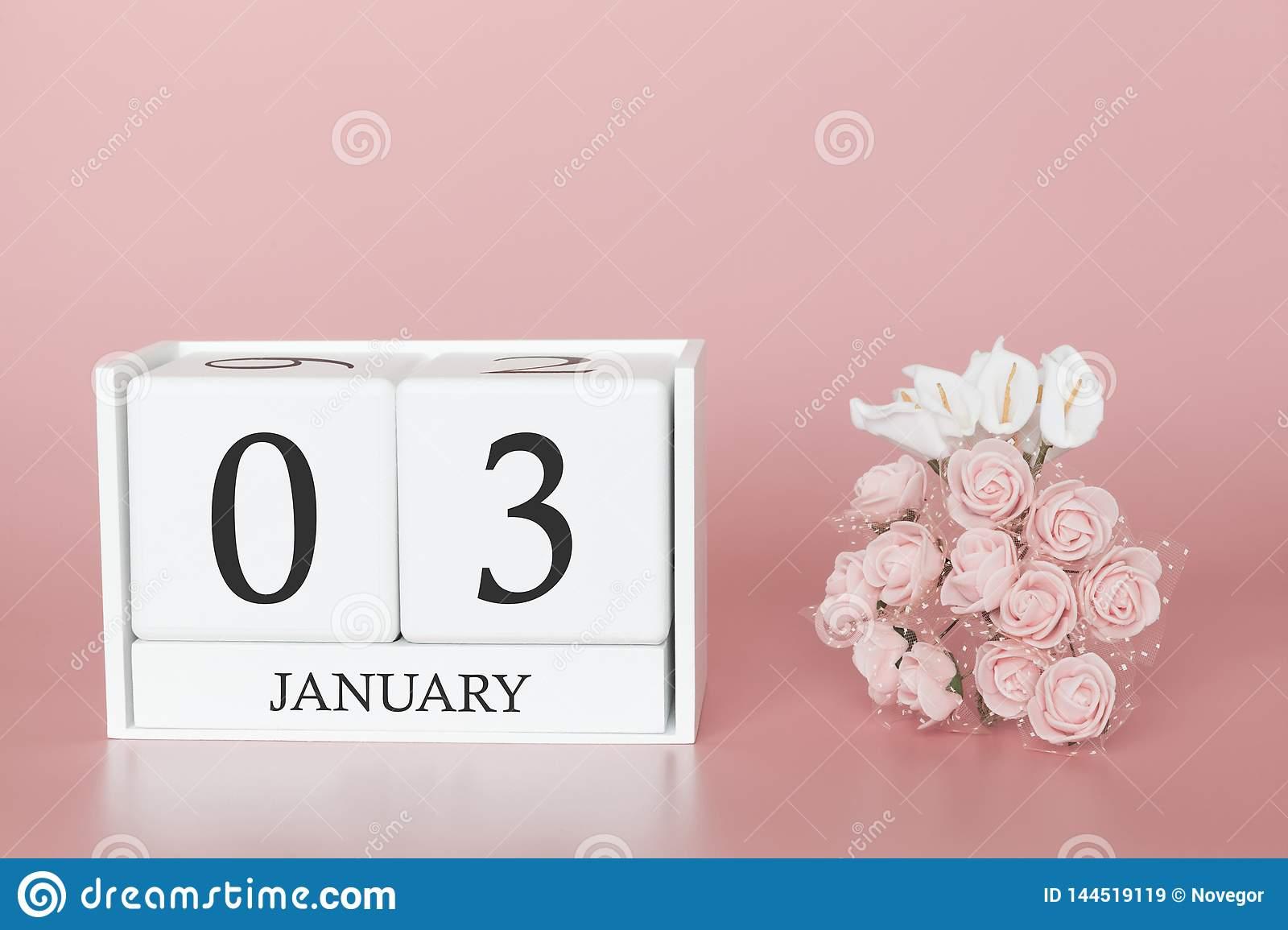 January 03Rd. Day 3 Of Month. Calendar Cube On Modern Pink inside 3 Month Calendar Holder