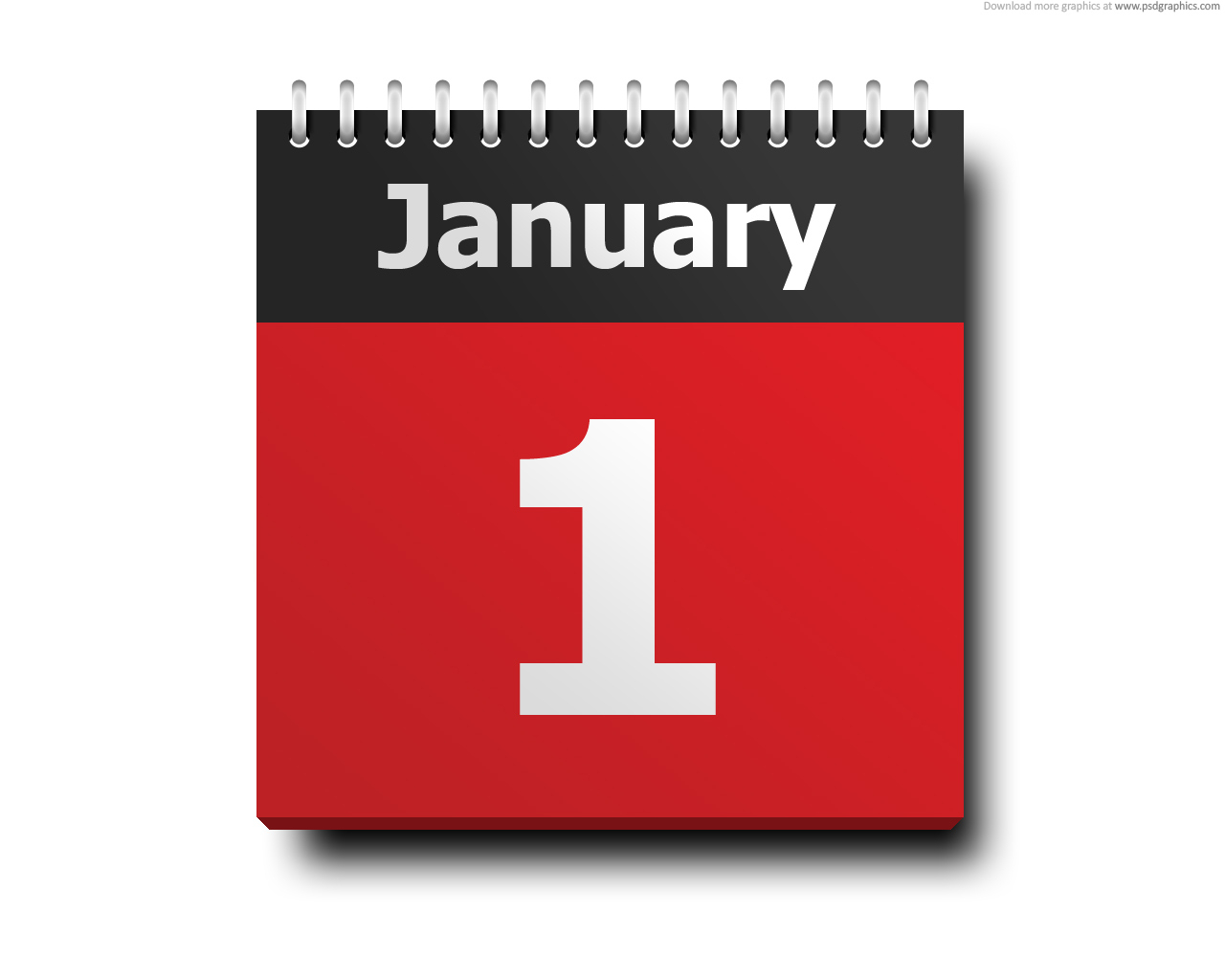 January 1, Calendar Icon | Psdgraphics for Red Calendar Icon Png