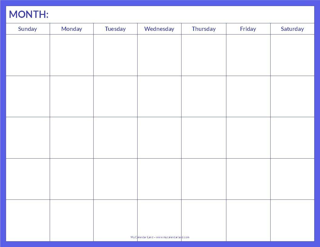 January 2015 Calendar Template Printable Blank Calendar Page within Blank Sunday Through Saturday Calendar