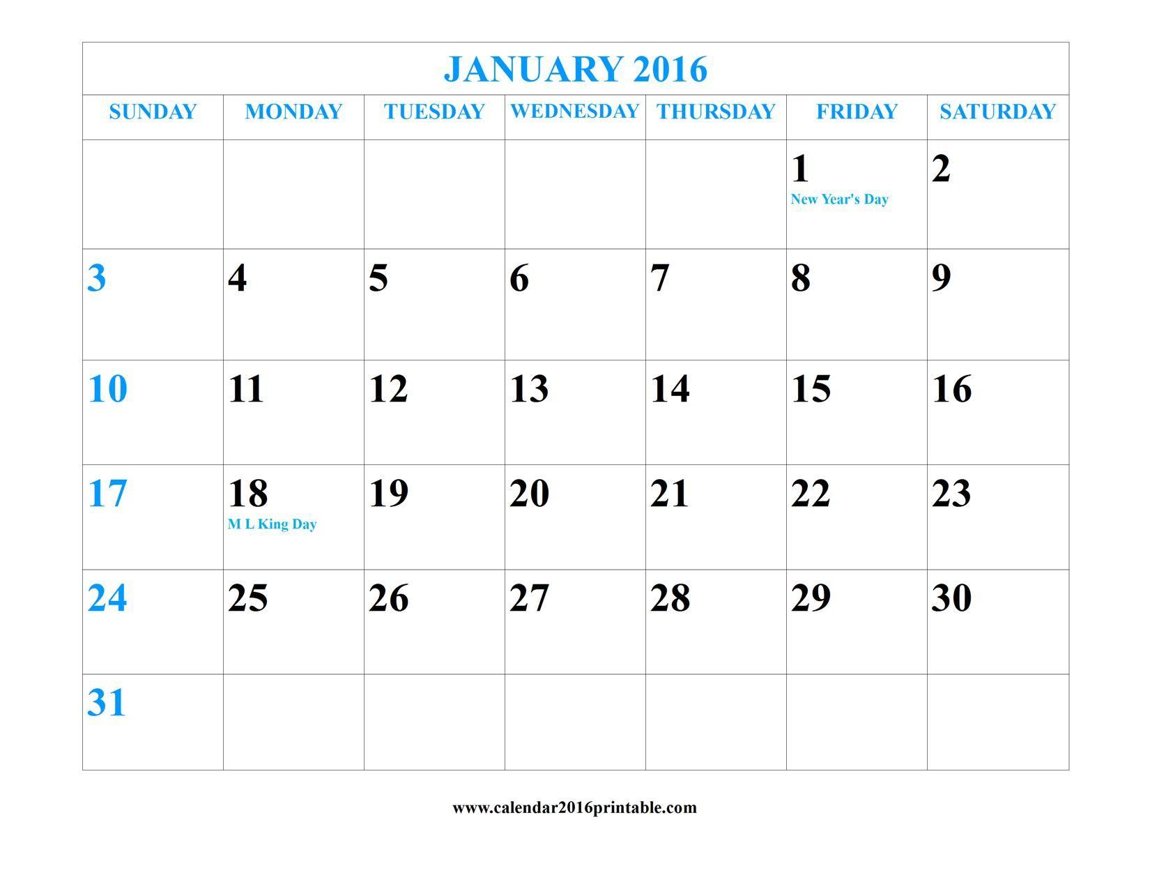January 2016 Calendar Printable With Holidays, Free To intended for July 2016 Calendar With Holidays