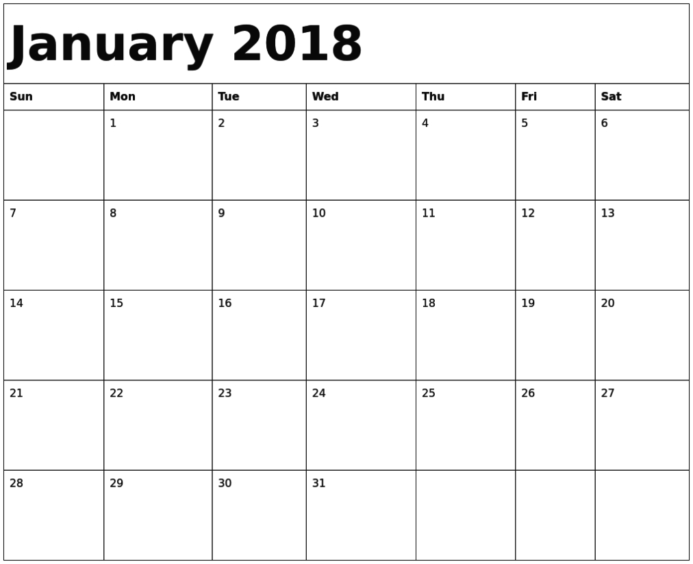 January 2018 Calendar Fillable | Free Printable Calendar pertaining to Fillable Printable Calendar