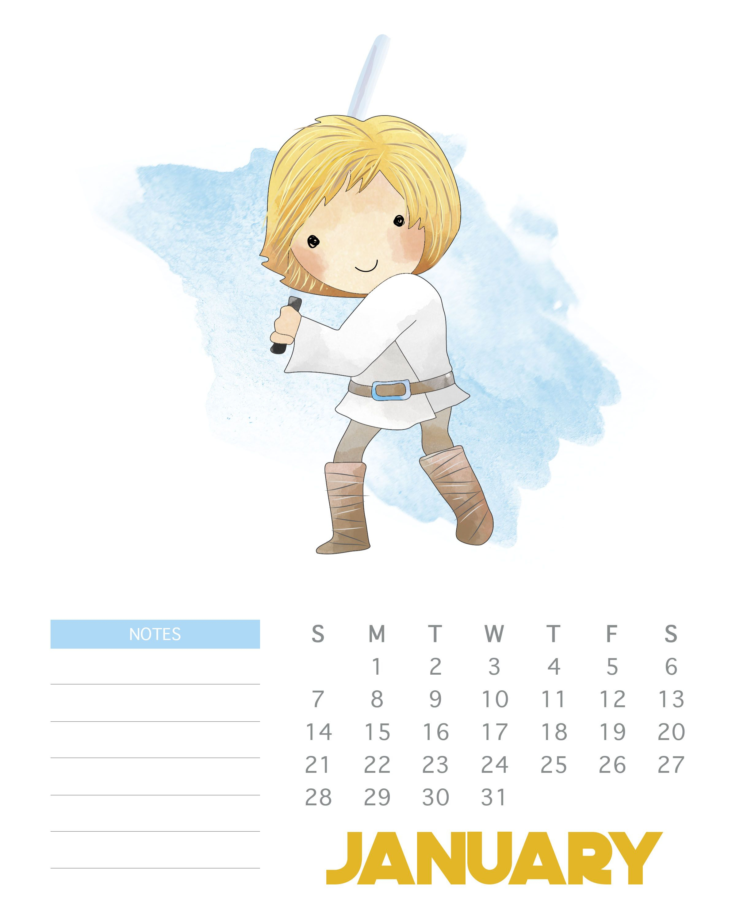January 2018 Star Wars Calendar Template | Monthly Wallpaper with Star Wars Calendar Printable