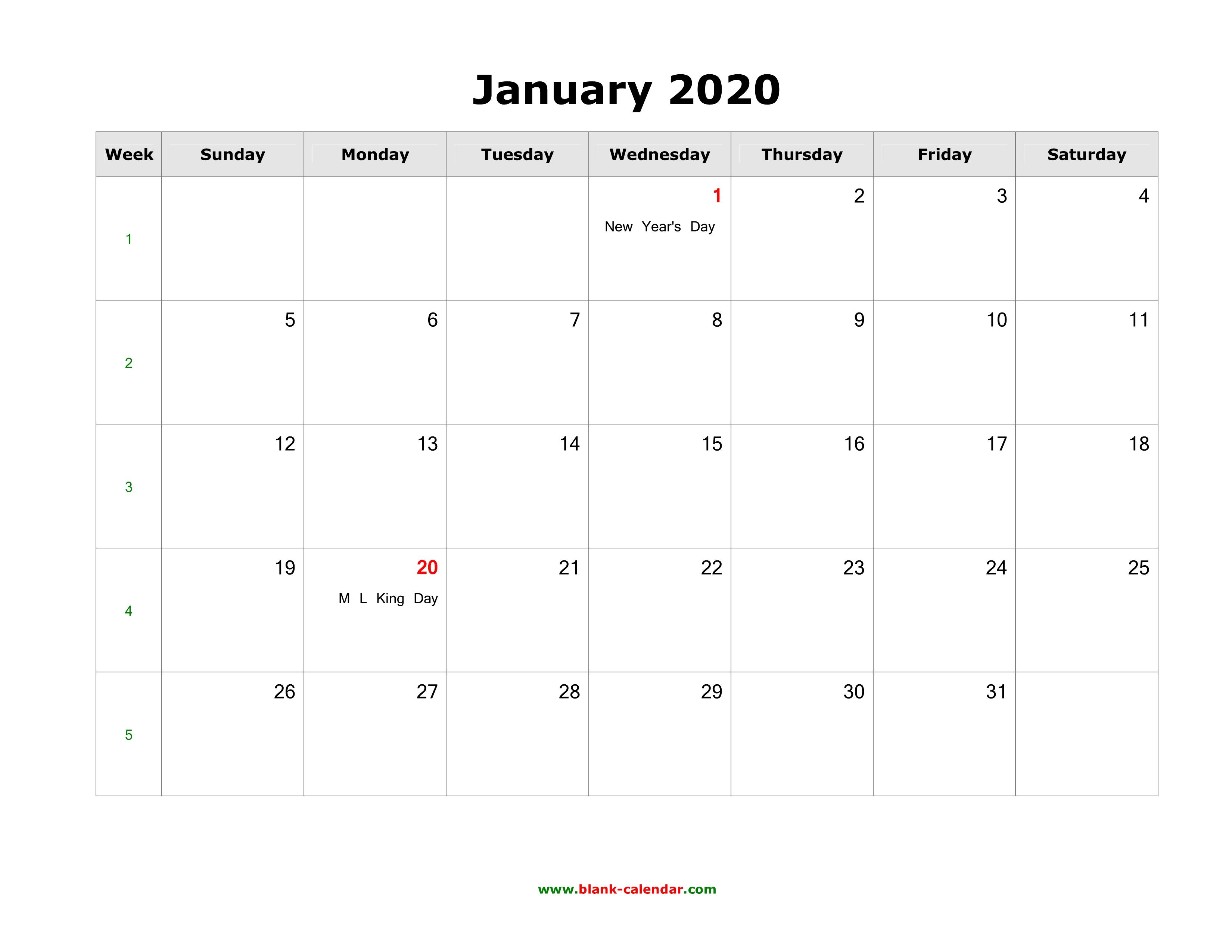 January 2020 Blank Calendar | Free Download Calendar Templates inside Wincalendar January 2020