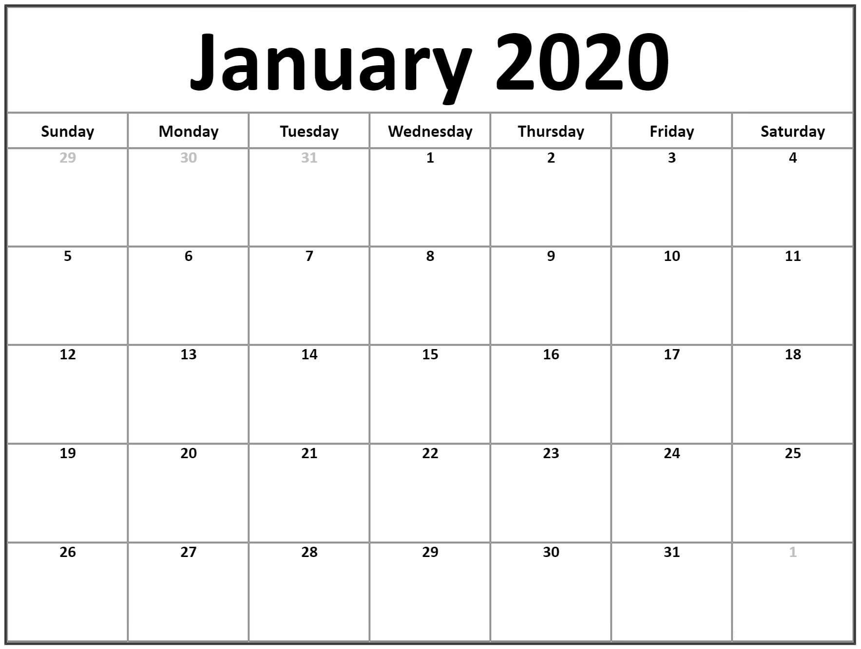 January 2020 Blank Calendar Printable Word Pdf Template throughout Blank January Calendar 2020