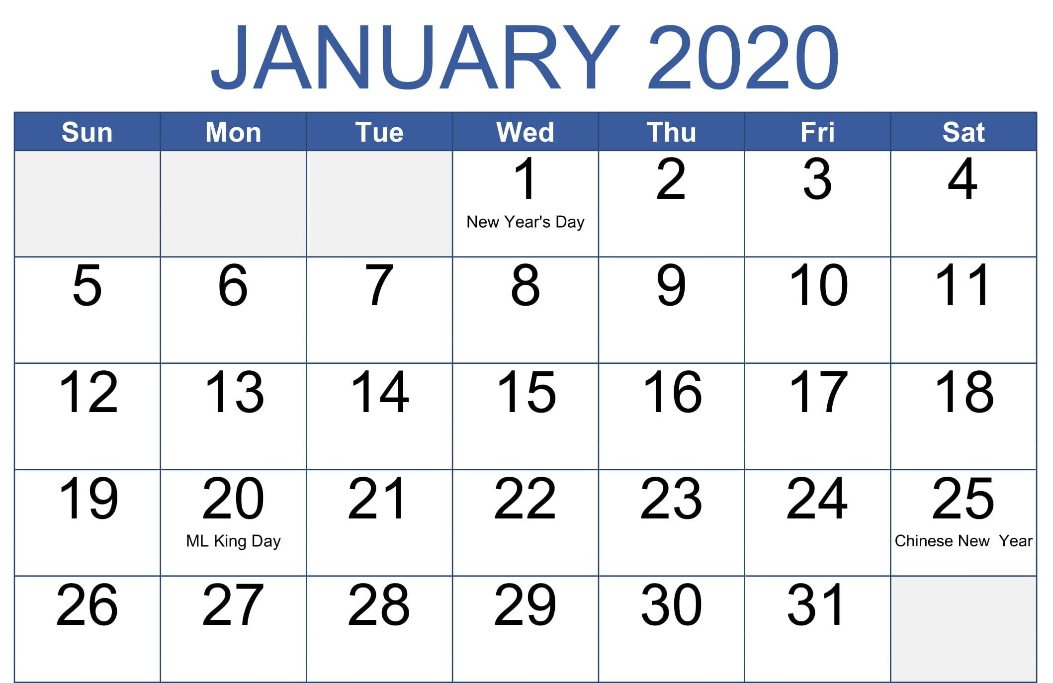 January 2020 Calendar Canada With Holidays & Notes  Set with Jan 2020 Holiday