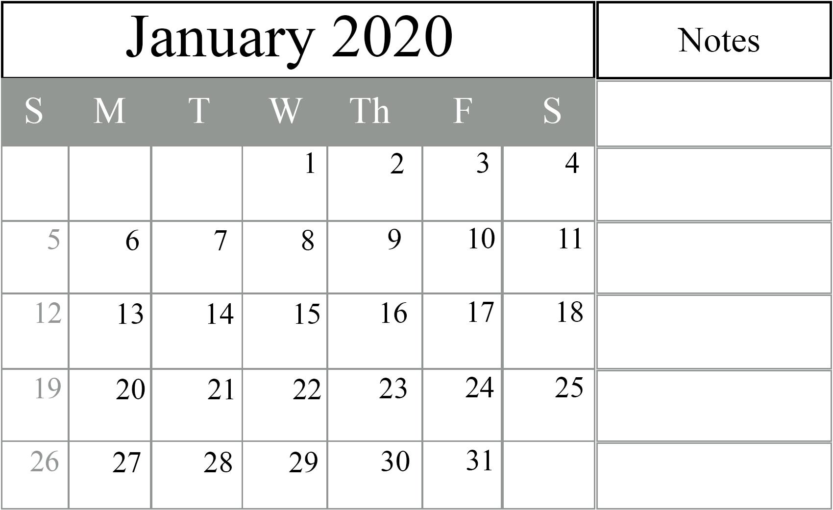 January 2020 Calendar Excel – Free Monthly Calendar pertaining to 2020 Excel Calendar