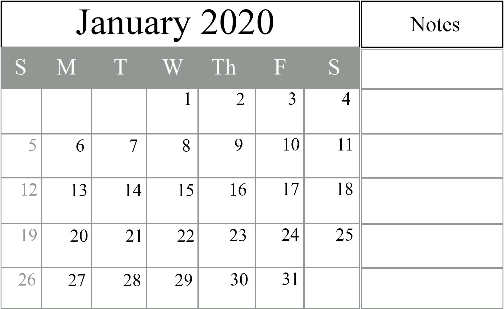 January 2020 Calendar Excel – Free Monthly Calendar pertaining to November Calendar Excel 2020