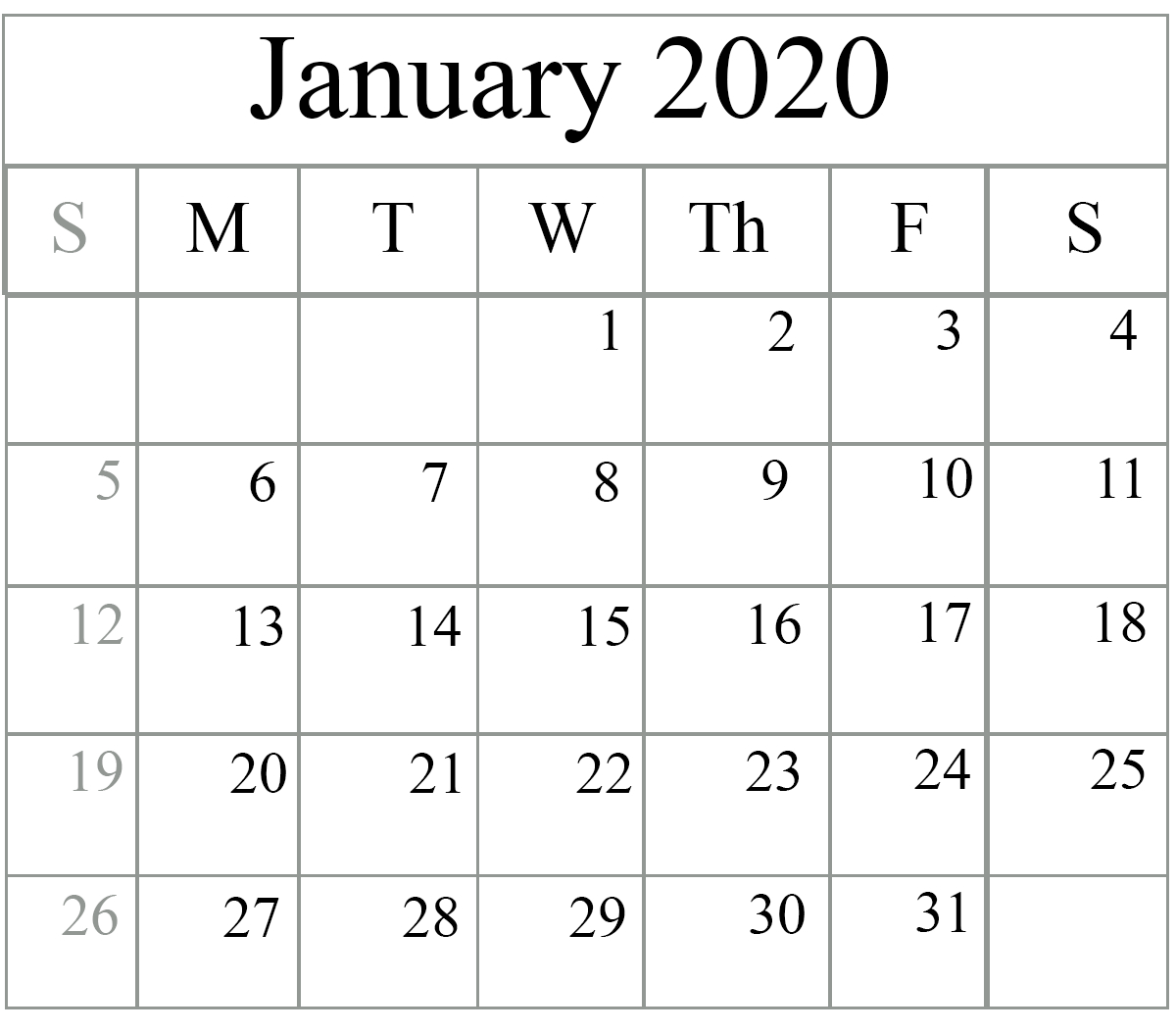 January 2020 Calendar Excel – Free Monthly Calendar with Waterproof Calendar January 2020