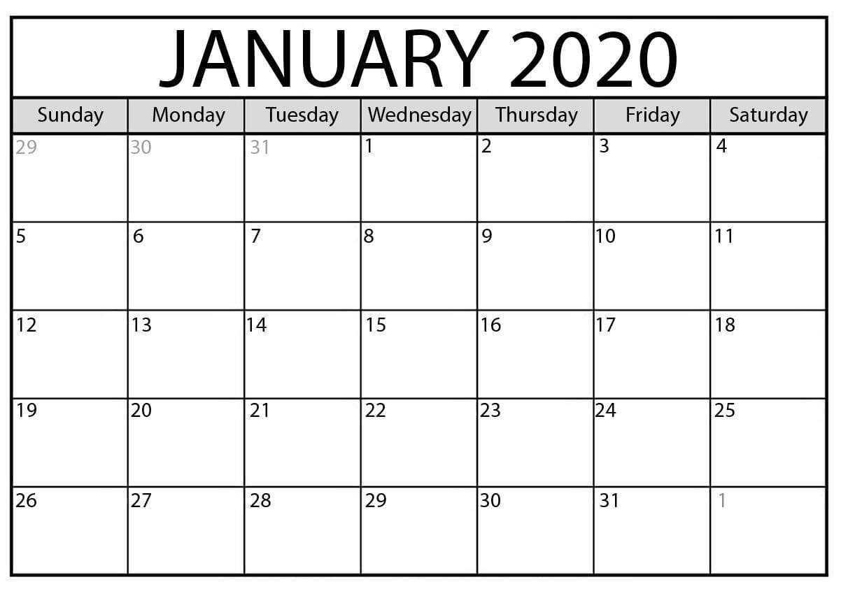 January 2020 Calendar Excel Printable Worksheet  2019 inside January 2020 Printable Calendar