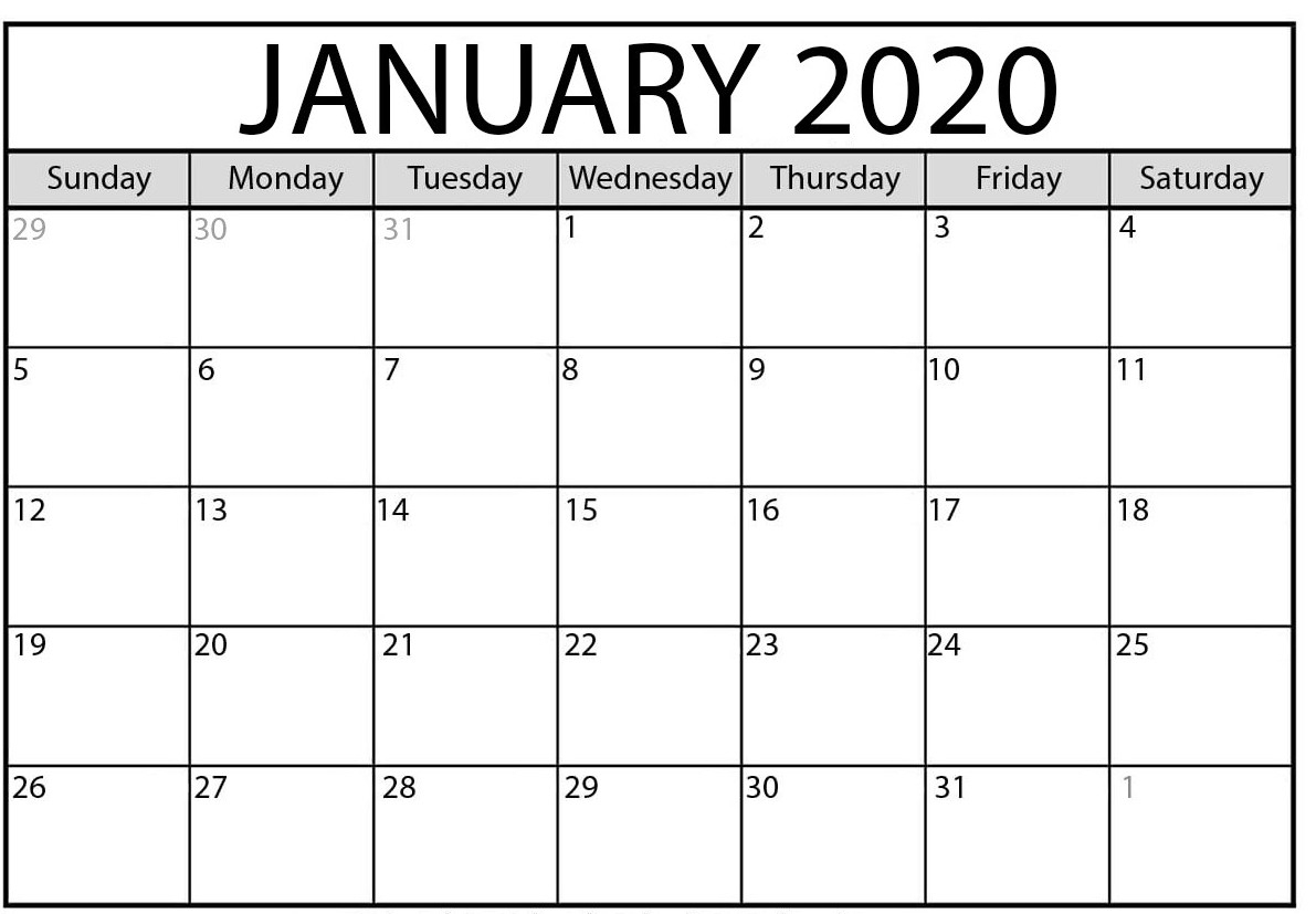 January 2020 Calendar | February 2020 Yearly Calendar Template!! in Blank 31 Day Calendar
