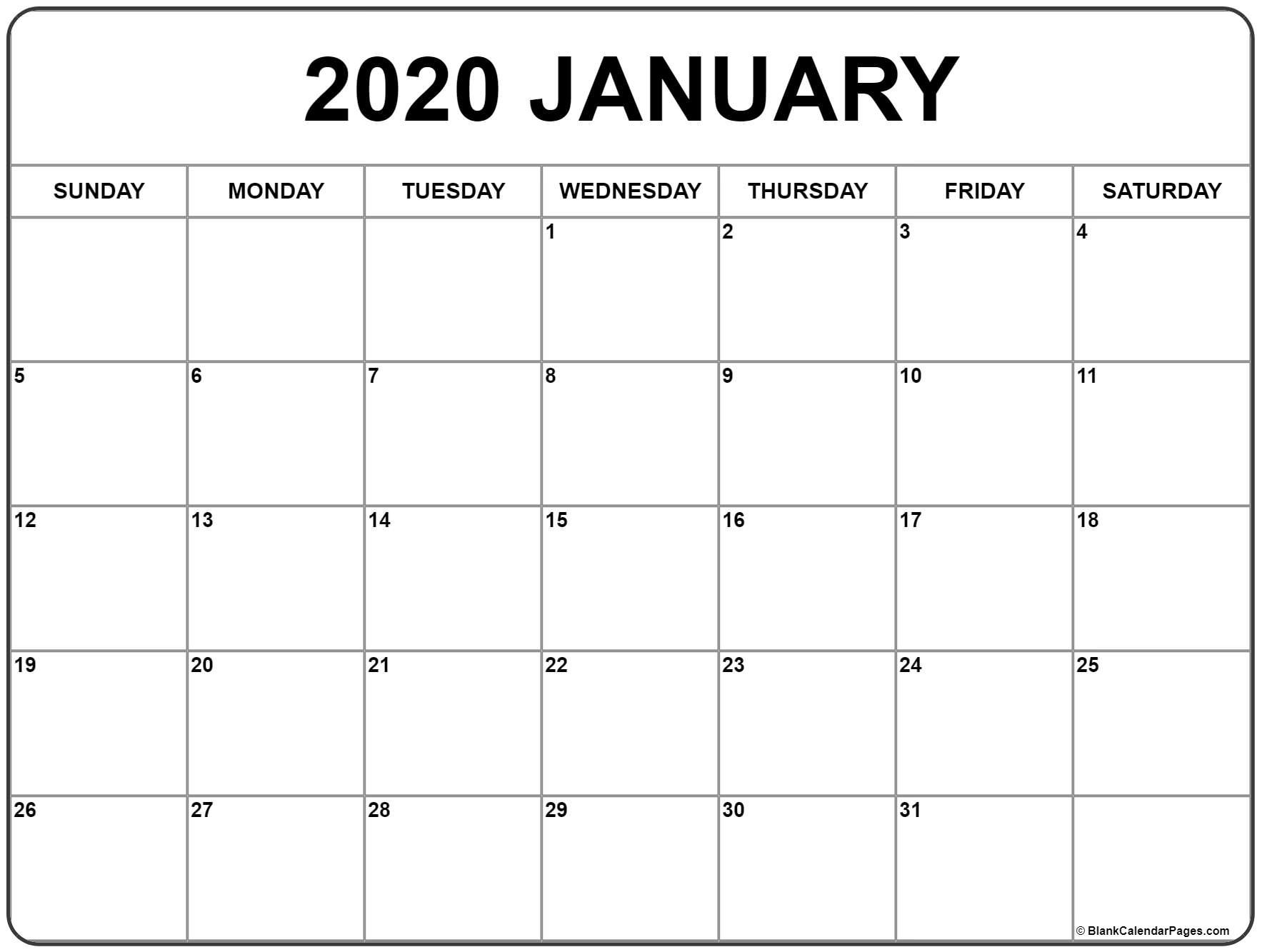 January 2020 Calendar | Free Printable Monthly Calendars intended for Monthly Calendar 2020 Printable