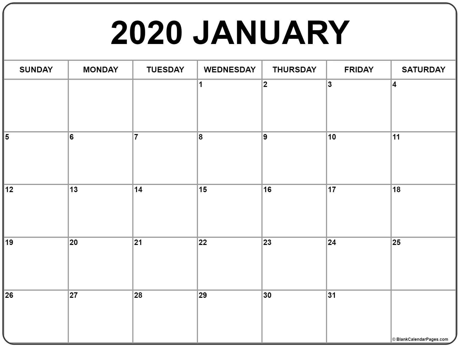 January 2020 Calendar | Free Printable Monthly Calendars pertaining to January 2020 Calendar Blank