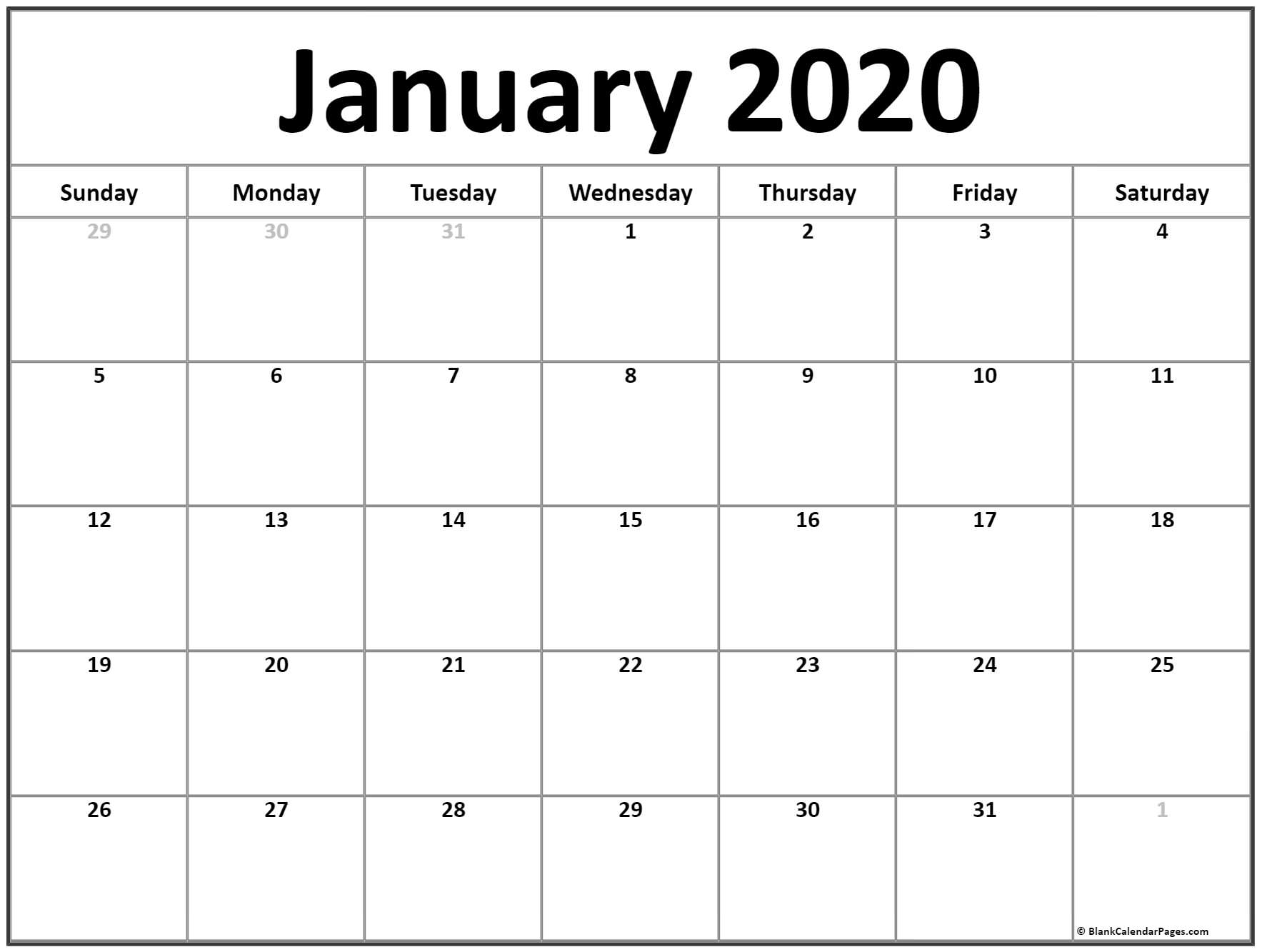 January 2020 Calendar | Free Printable Monthly Calendars with Show Calendar For January 2020