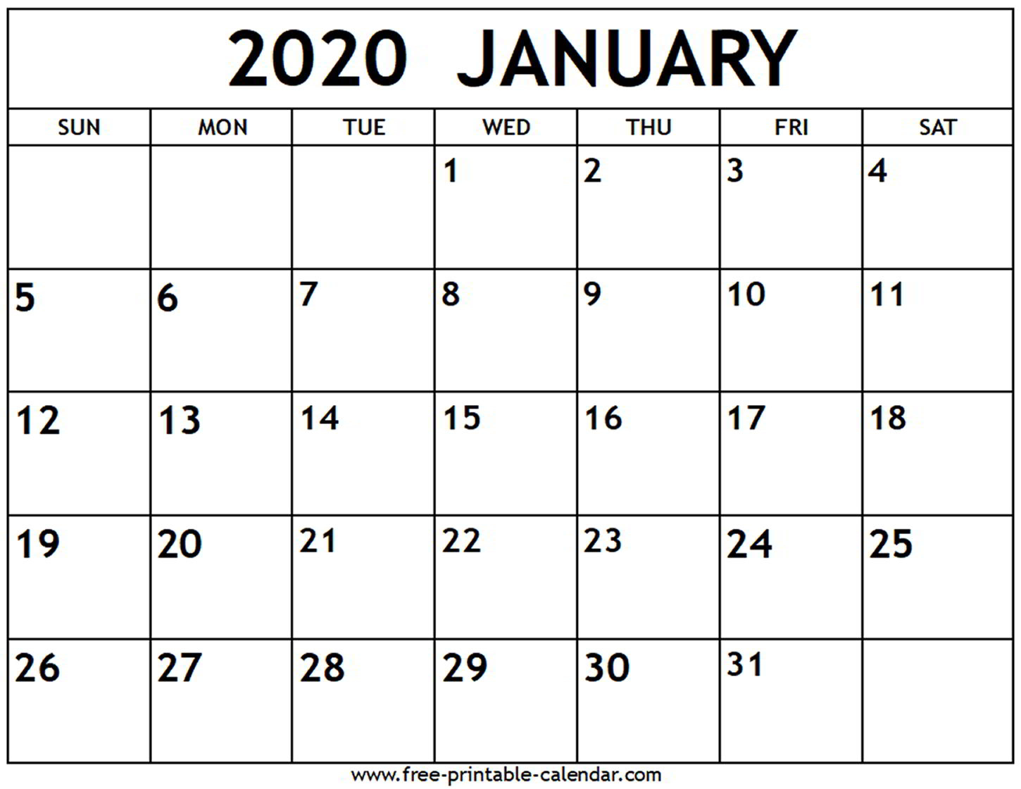 January 2020 Calendar  Freeprintablecalendar in Printable January 2020 Calendar