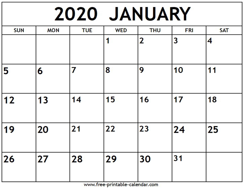 January 2020 Calendar  Freeprintablecalendar inside Jan 2020 Printable Calendar