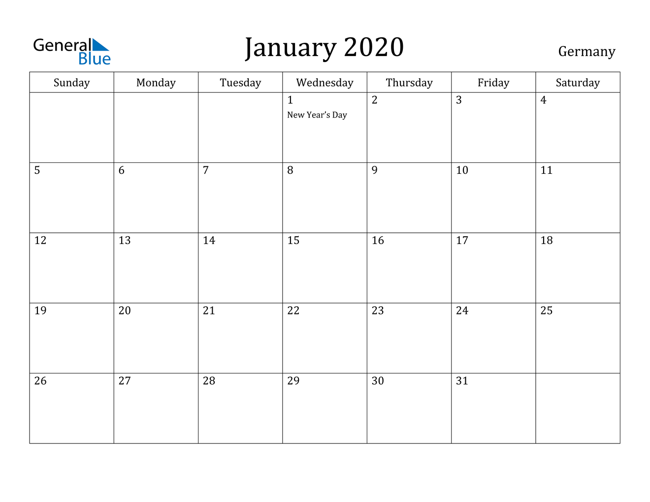 January 2020 Calendar  Germany pertaining to Calander January 2020
