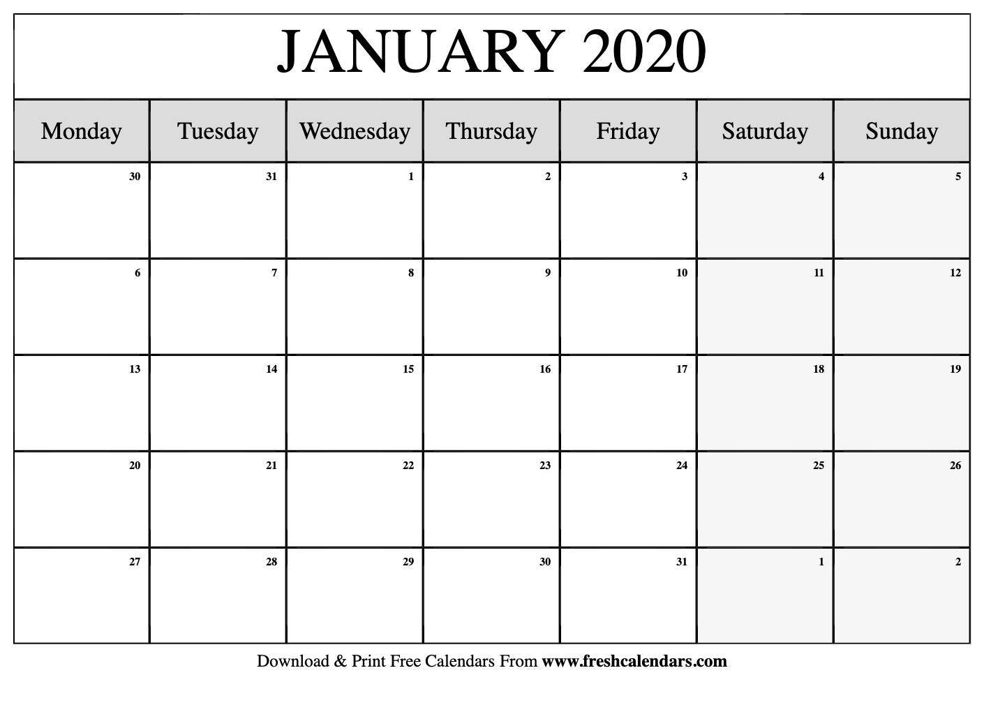 January 2020 Calendar Monday Sunday  Yatay.horizonconsulting.co with Monday To Sunday Calendar Template