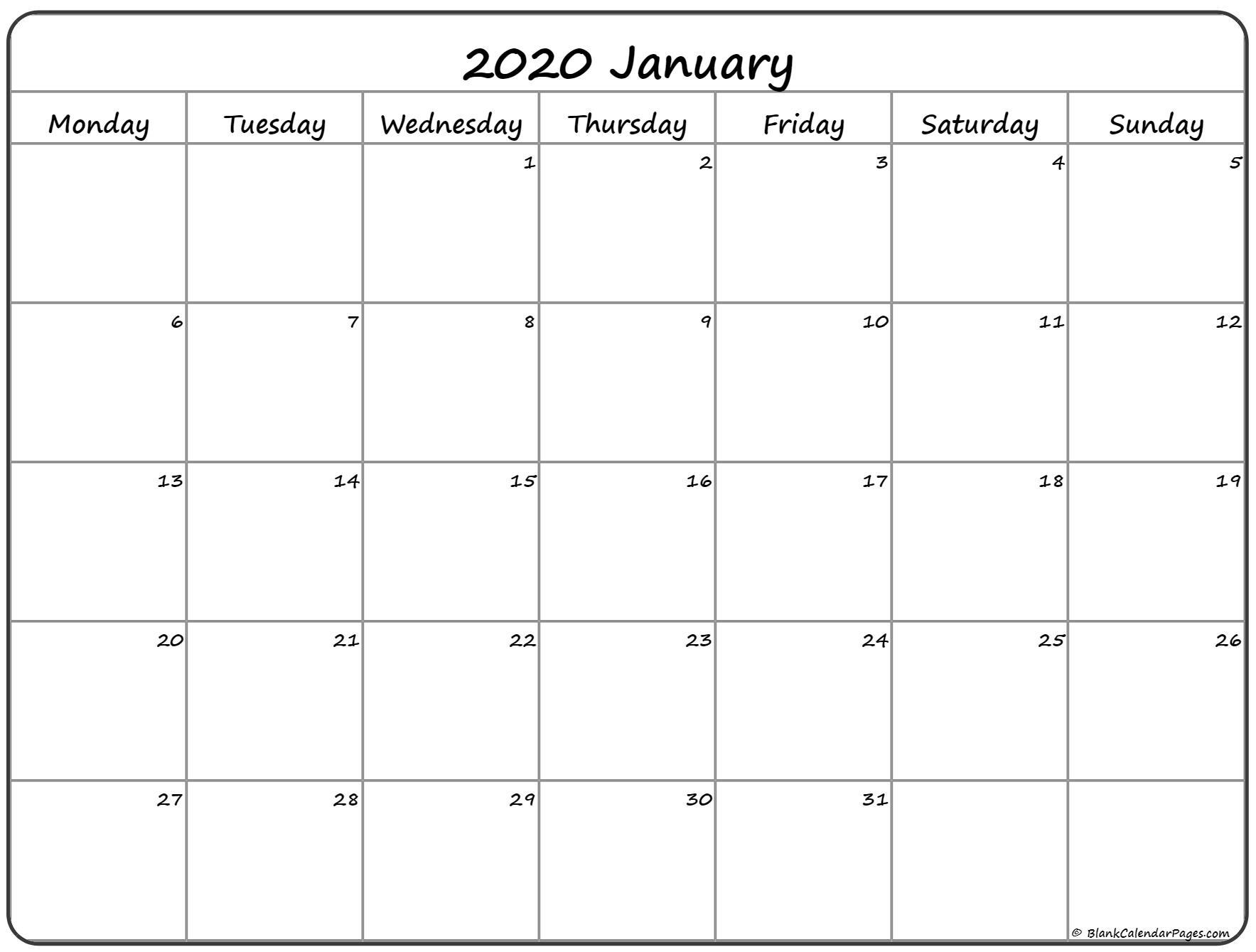 January 2020 Calendar Monday Sunday  Yatay.horizonconsulting.co within January 2020 Calendar Starting Monday