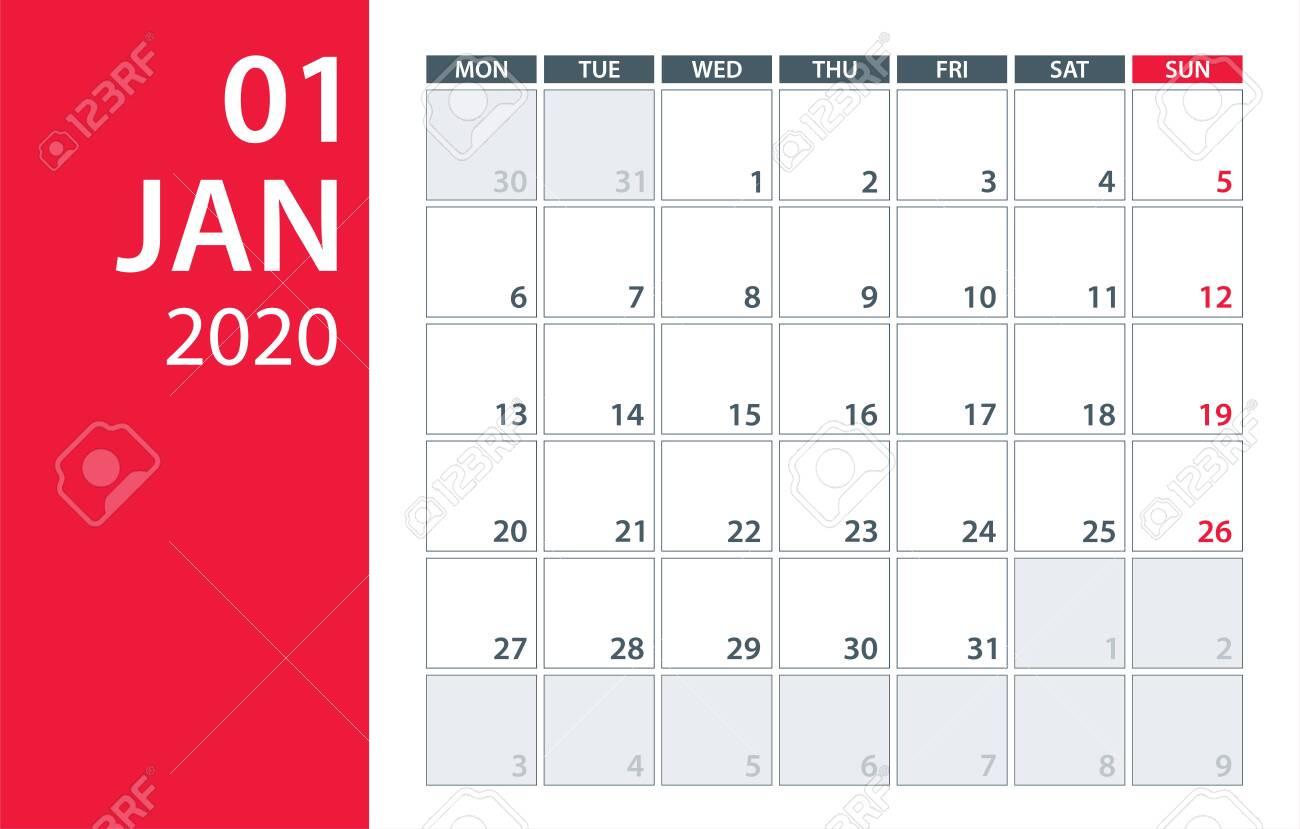 January 2020 Calendar Planner  Vector. Template Mock Up regarding Jan 2020 Calendar
