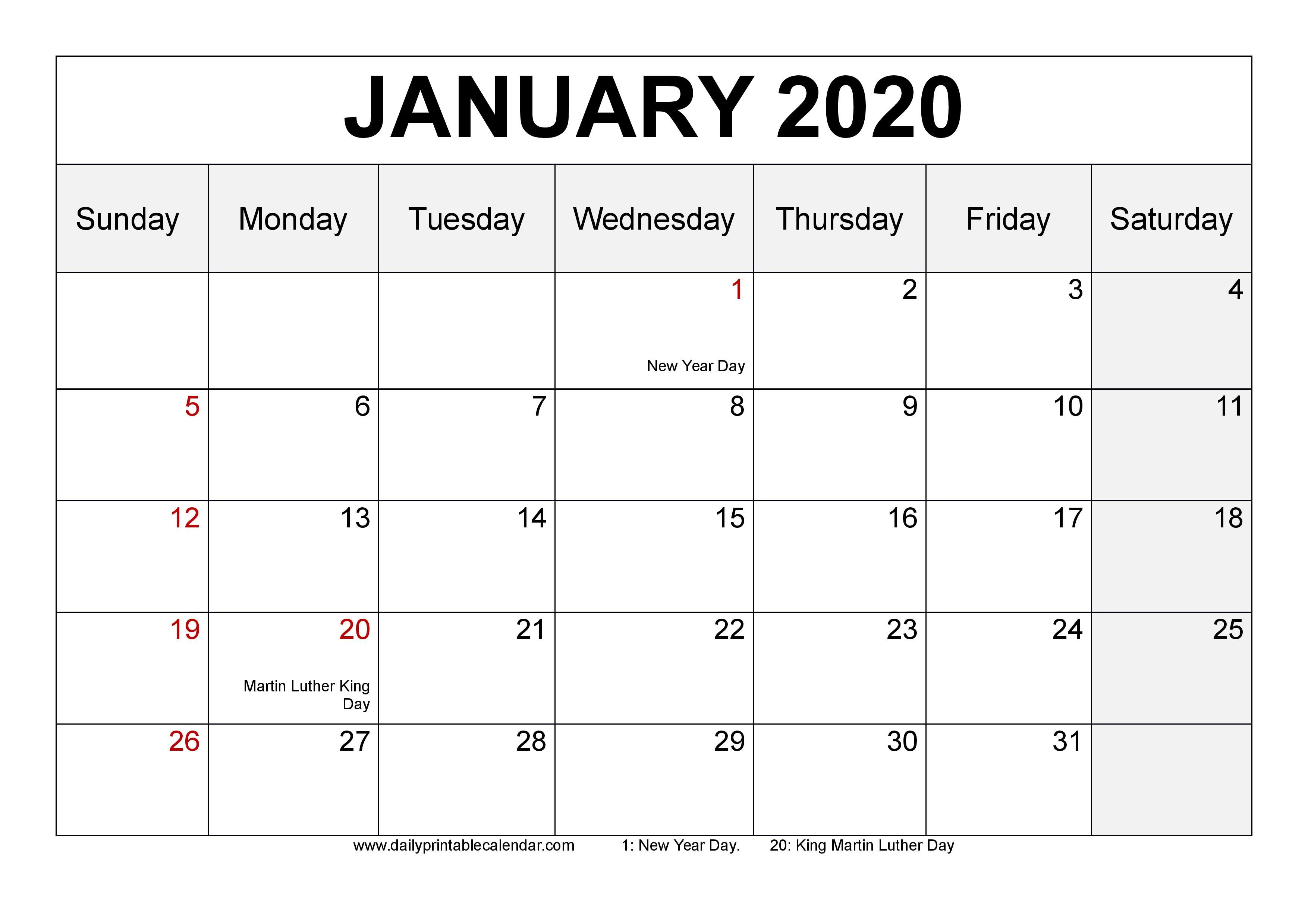 January 2020 Calendar Printable  Blank Templates  2020 throughout Blank 31 Day Calendar