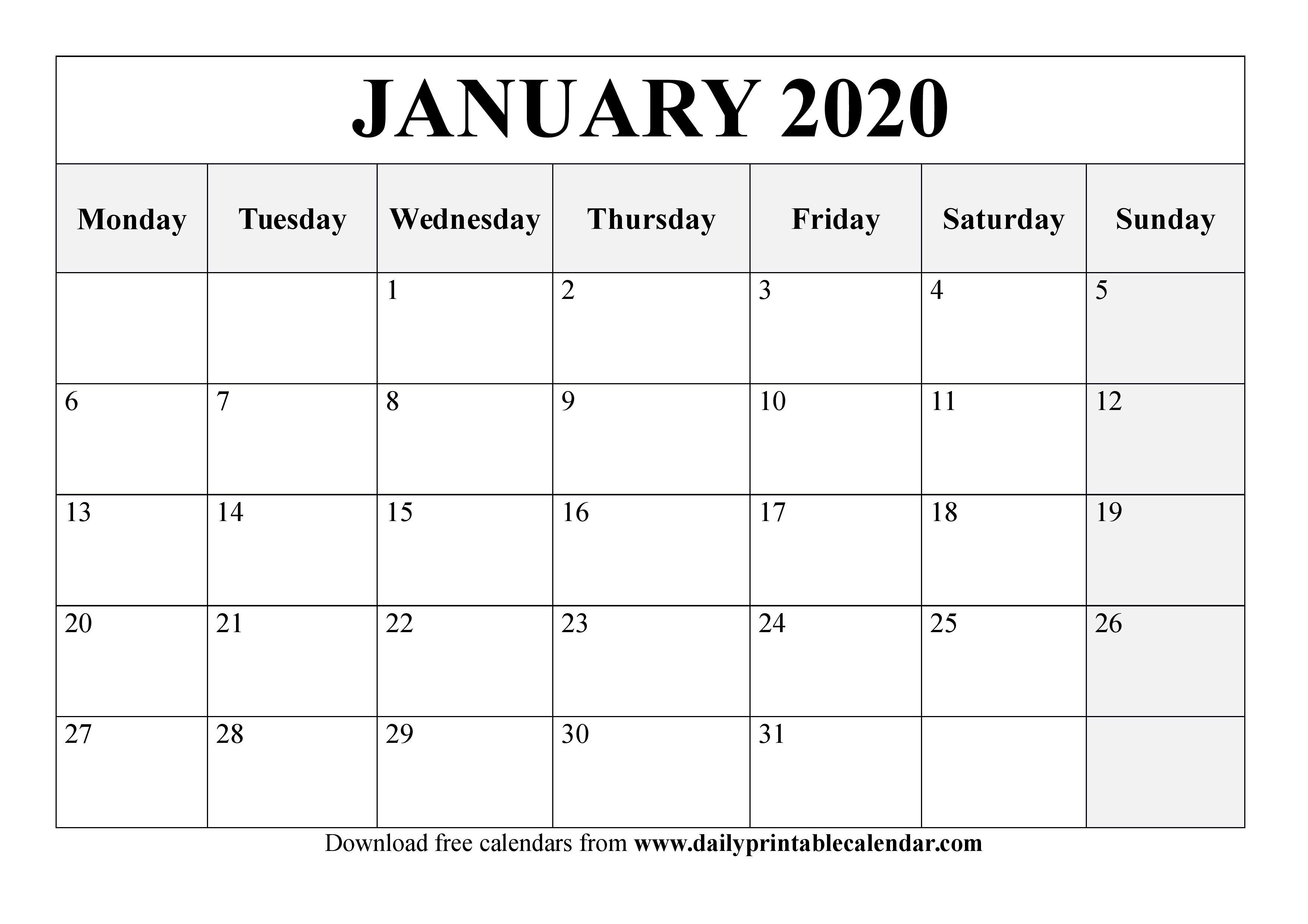 January 2020 Calendar Printable  Blank Templates  2020 throughout January 2020 Calendar Starting Monday