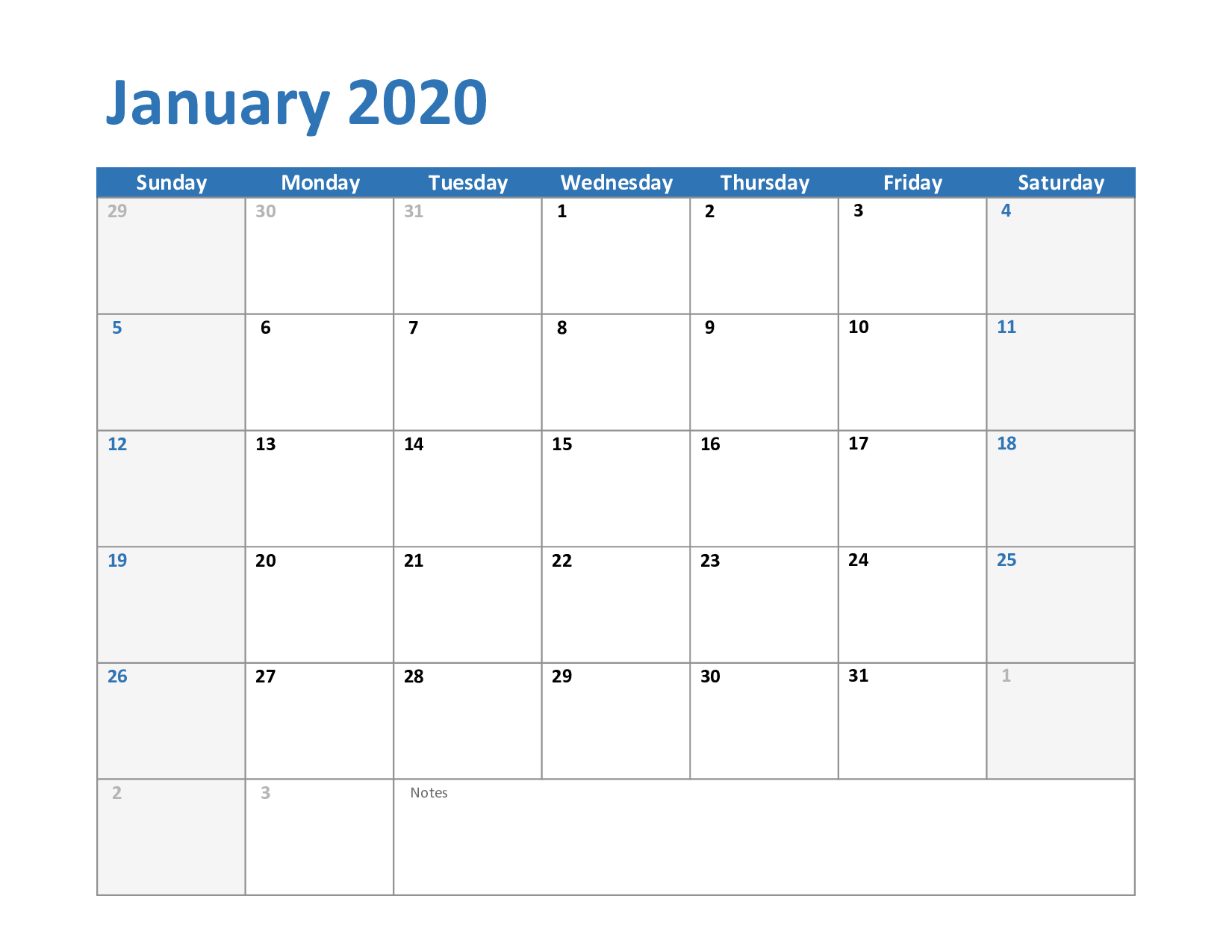 January 2020 Calendar Printable Free | Printable Calendar throughout Free Printable 2020 Employee Attendance Calendar