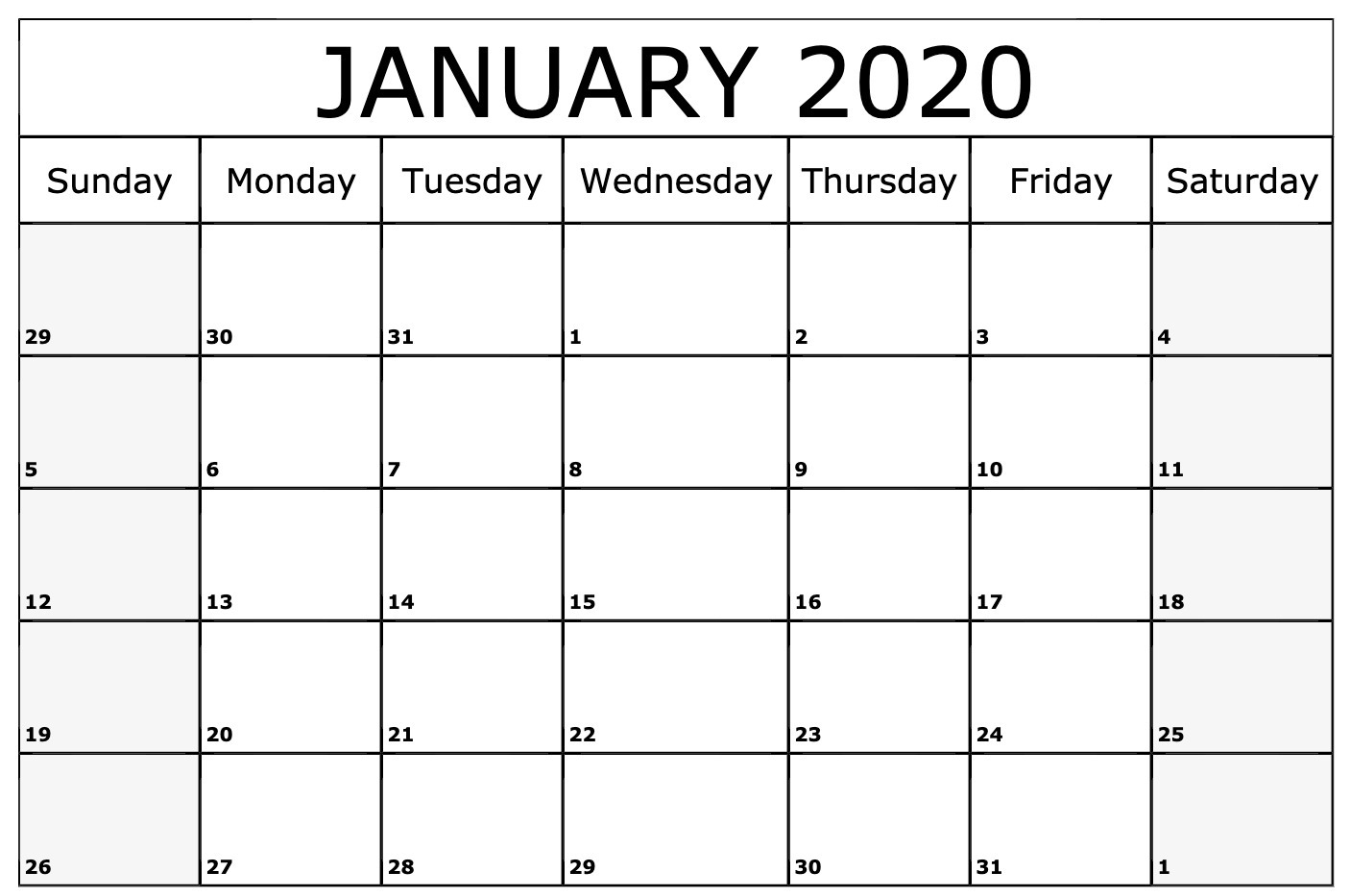 January 2020 Calendar Printable Template In Pdf Word Excel for Blank Calendar Template Word