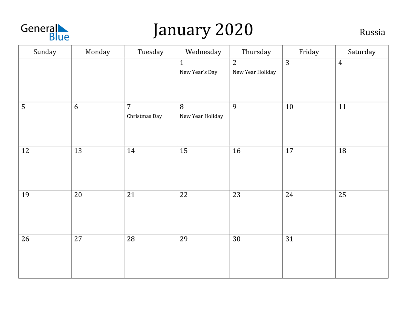 January 2020 Calendar  Russia pertaining to Calendar 2020 January