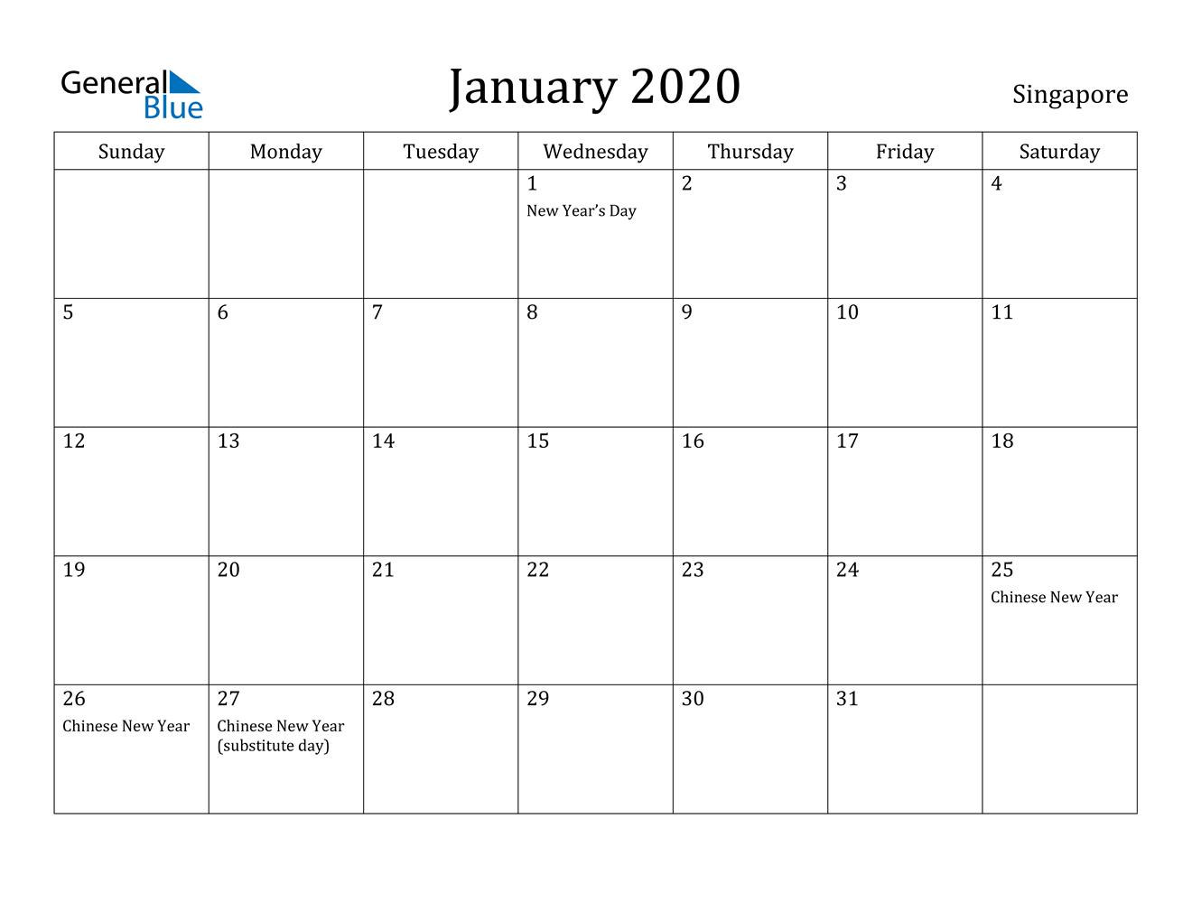 January 2020 Calendar  Singapore for Jan 2020 Calendar