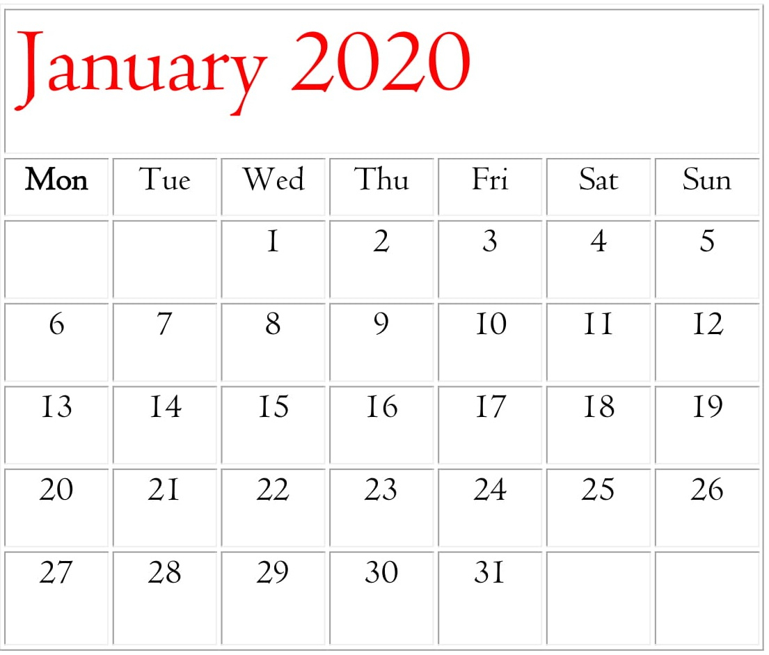 January 2020 Calendar Template For Word, Excel And Pdf intended for Calendarpedia January 2020