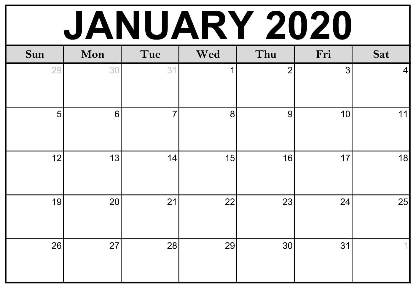 January 2020 Calendar Template | Printable Calendar Template for January 2020 Printable Calendar