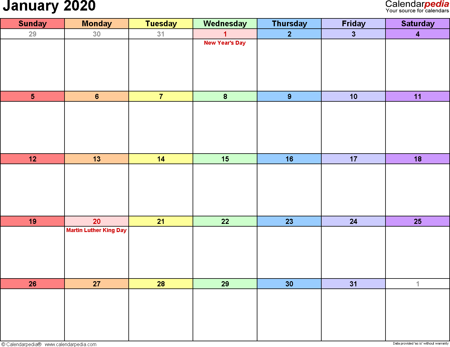 January 2020  Calendar Templates For Word, Excel And Pdf inside January 2020 Calendar Starting Monday