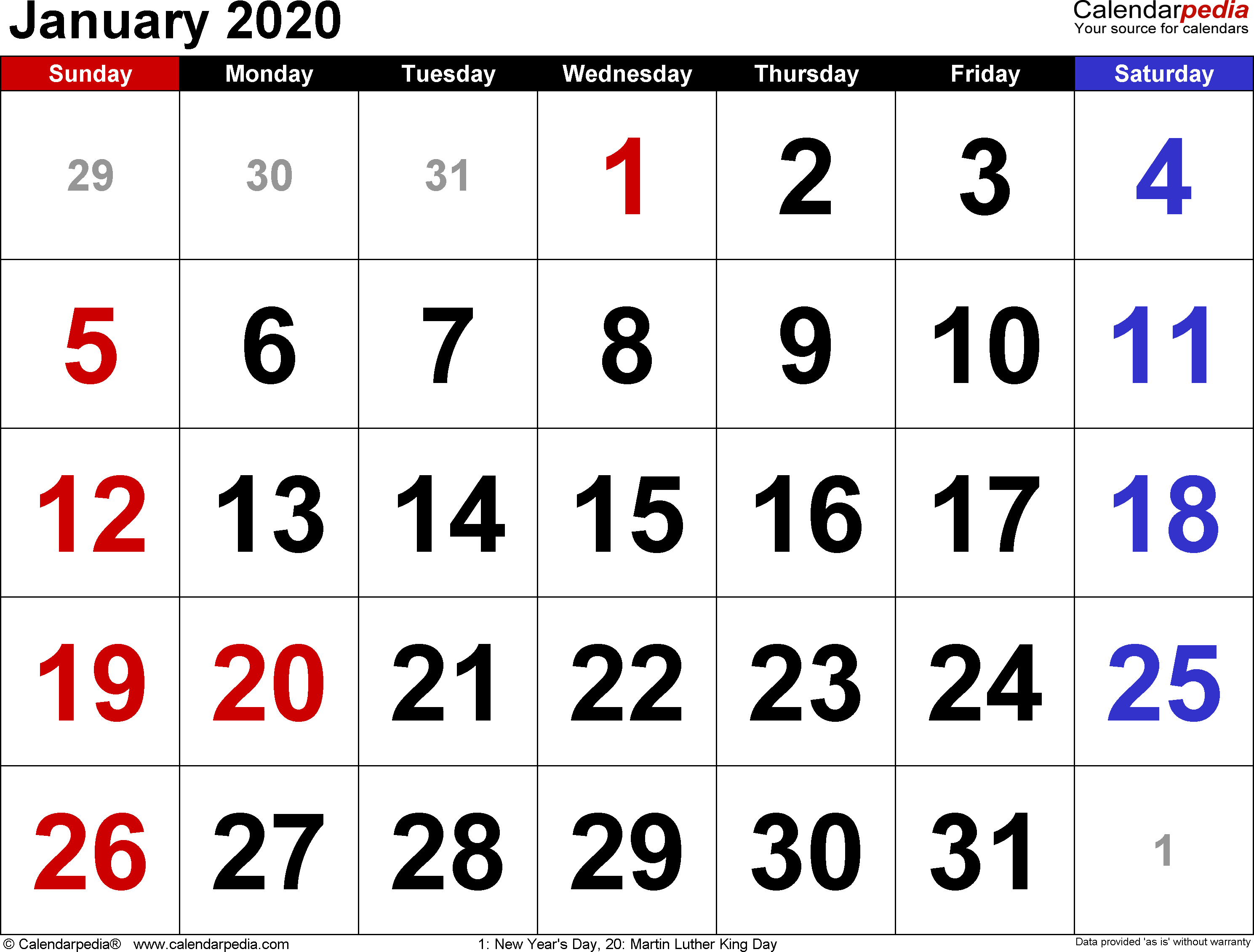 January 2020  Calendar Templates For Word, Excel And Pdf with Calendarpedia January 2020