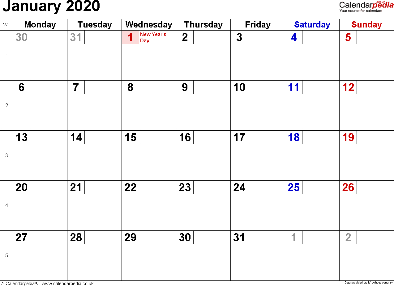 January 2020 Calendar With Holidays  Us, Uk, Canada pertaining to Calendarpedia January 2020