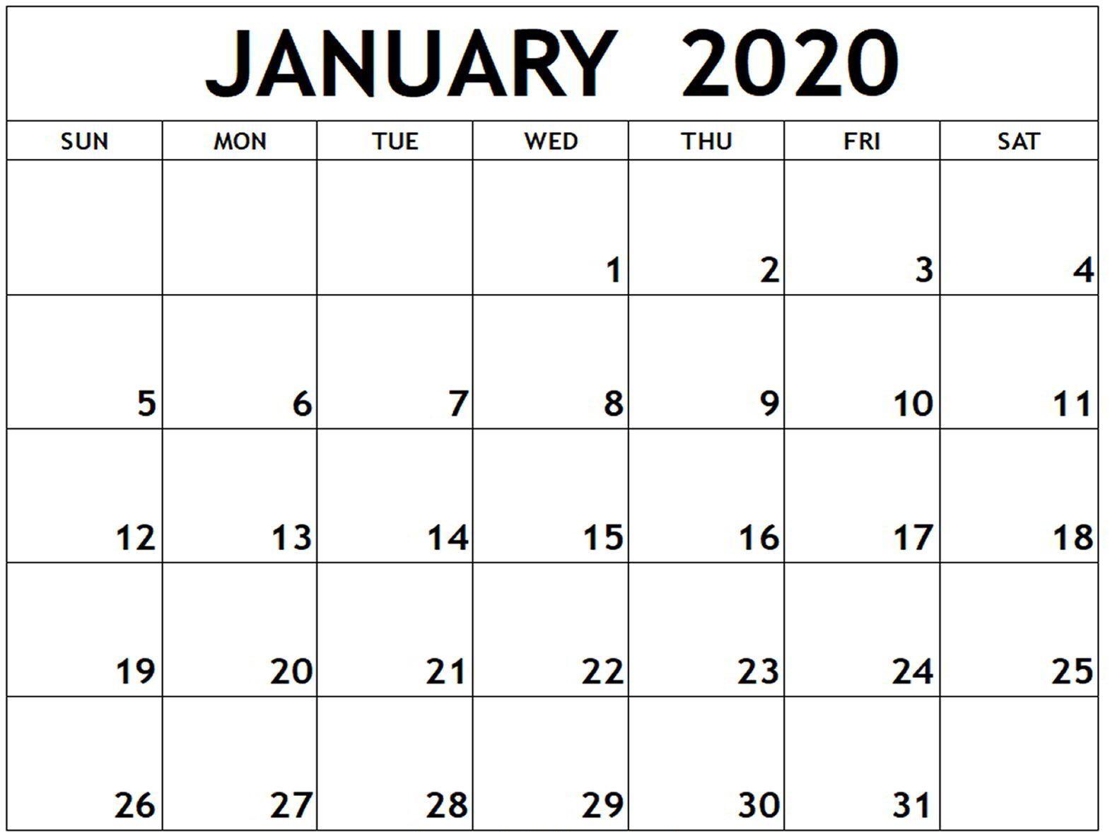 January 2020 Calendar Word Doc | Free Calendar Template for Blank January Calendar 2020