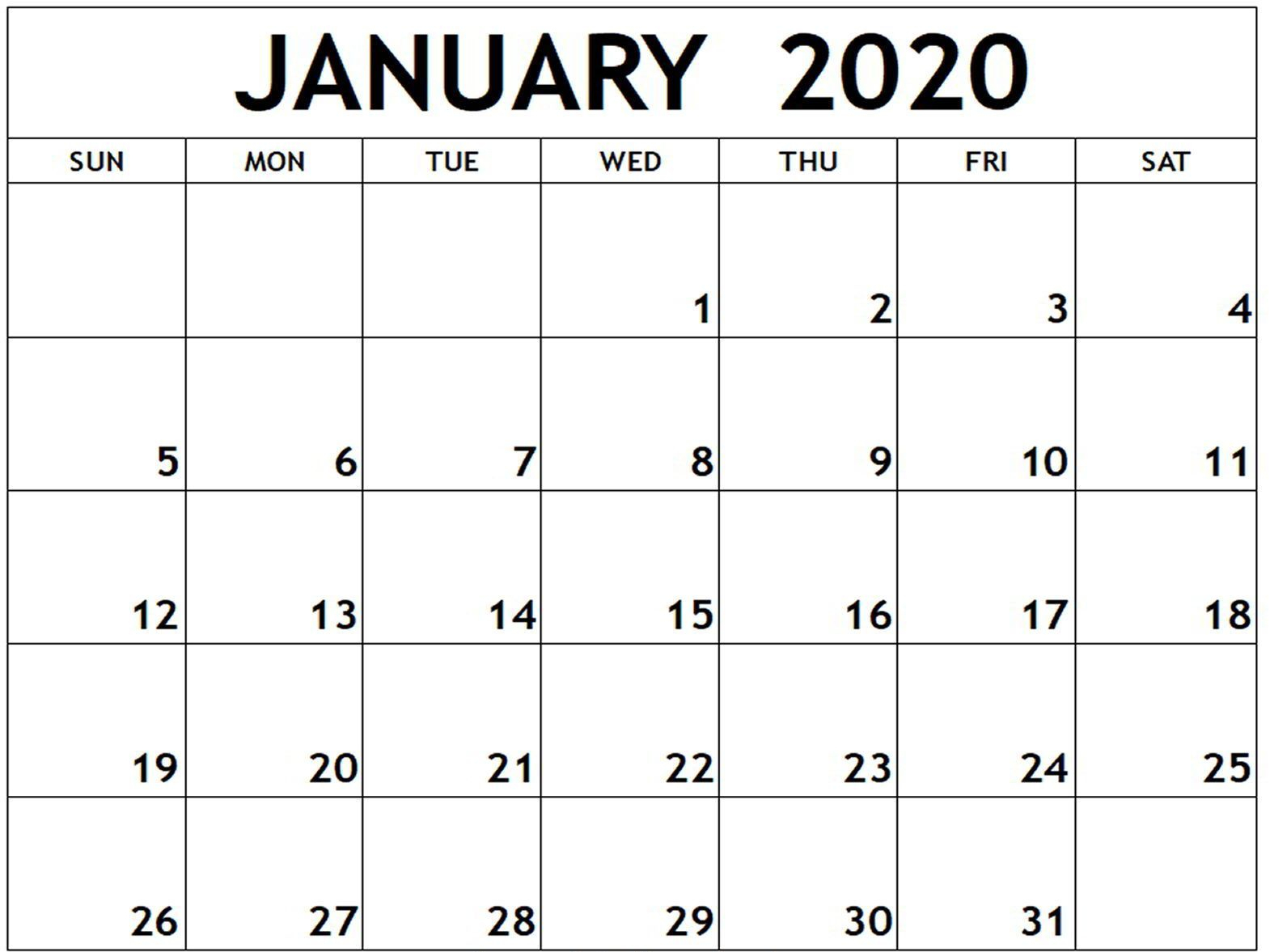January 2020 Calendar Word Doc | Free Calendar Template regarding Printable January 2020 Calendar