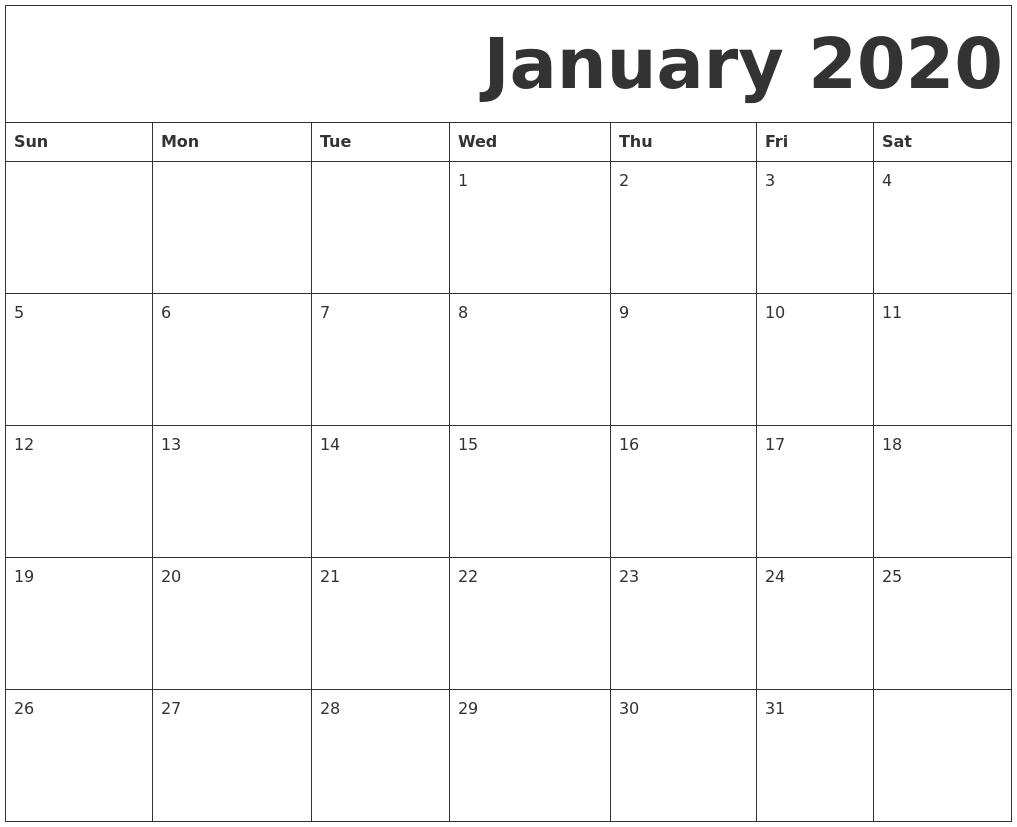January 2020 Free Printable Calendar with regard to Jan 2020 Printable Calendar