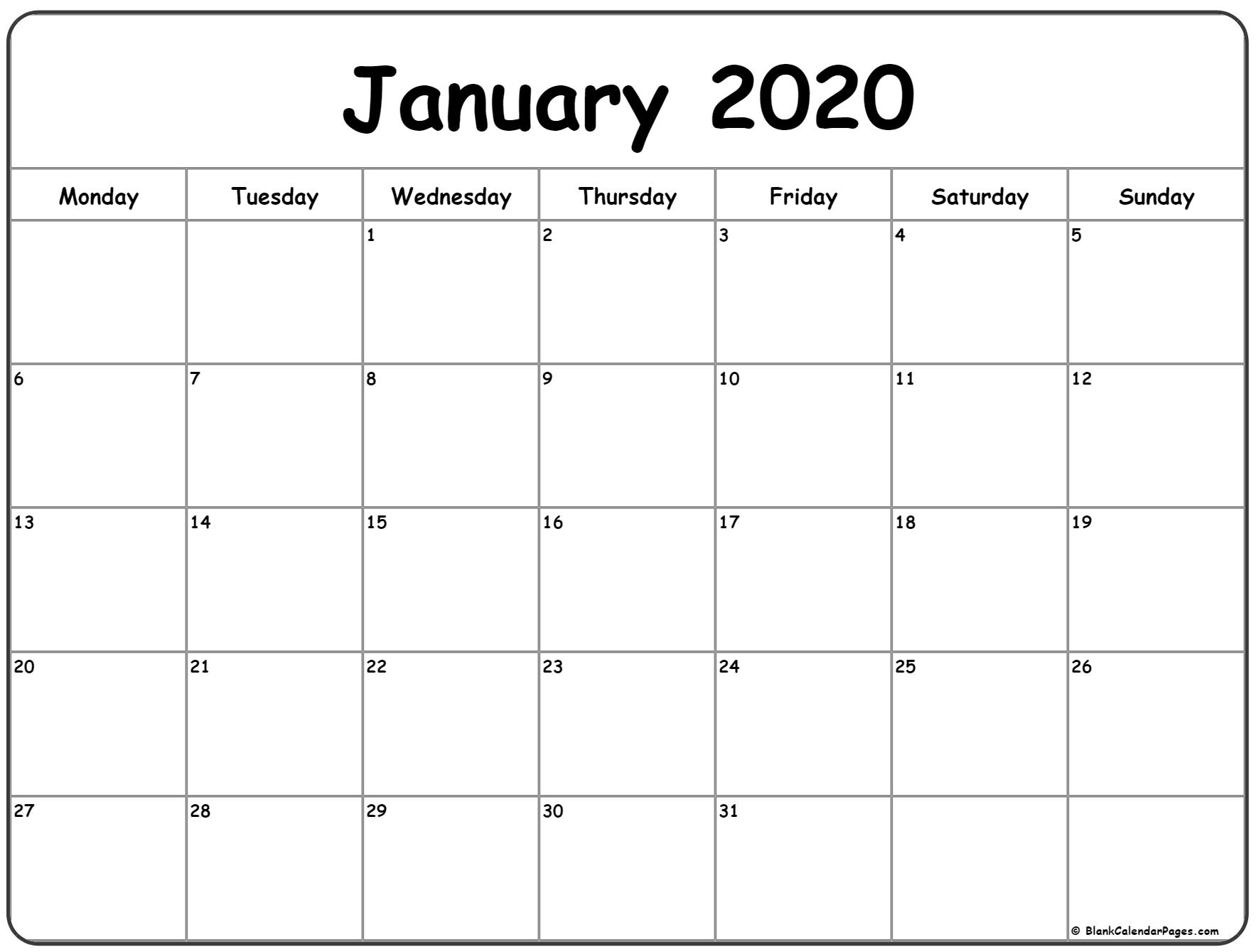 January 2020 Monday Calendar | Monday To Sunday for January 2020 Calendar Blank