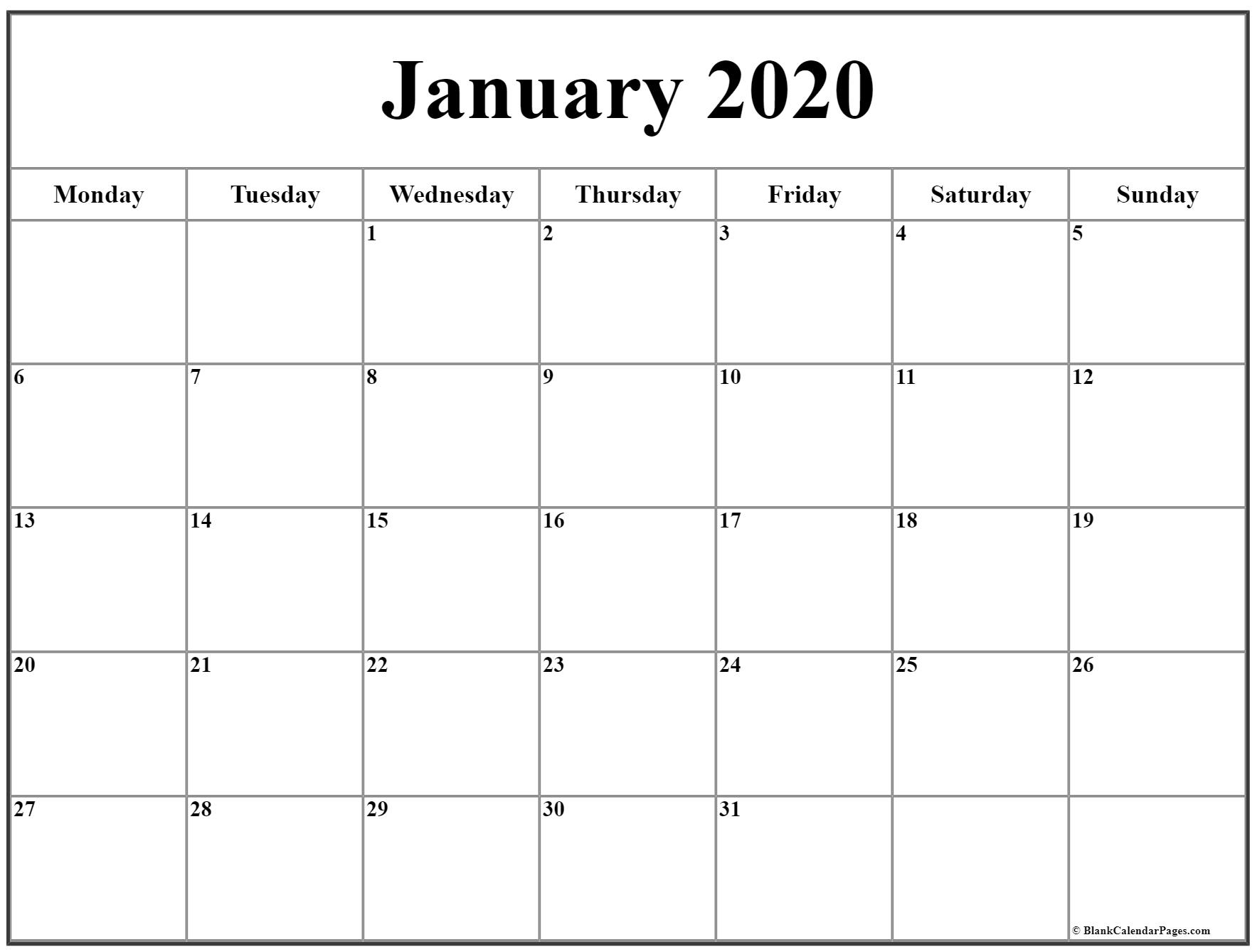 January 2020 Monday Calendar | Monday To Sunday for Monday Through Sunday Calendar
