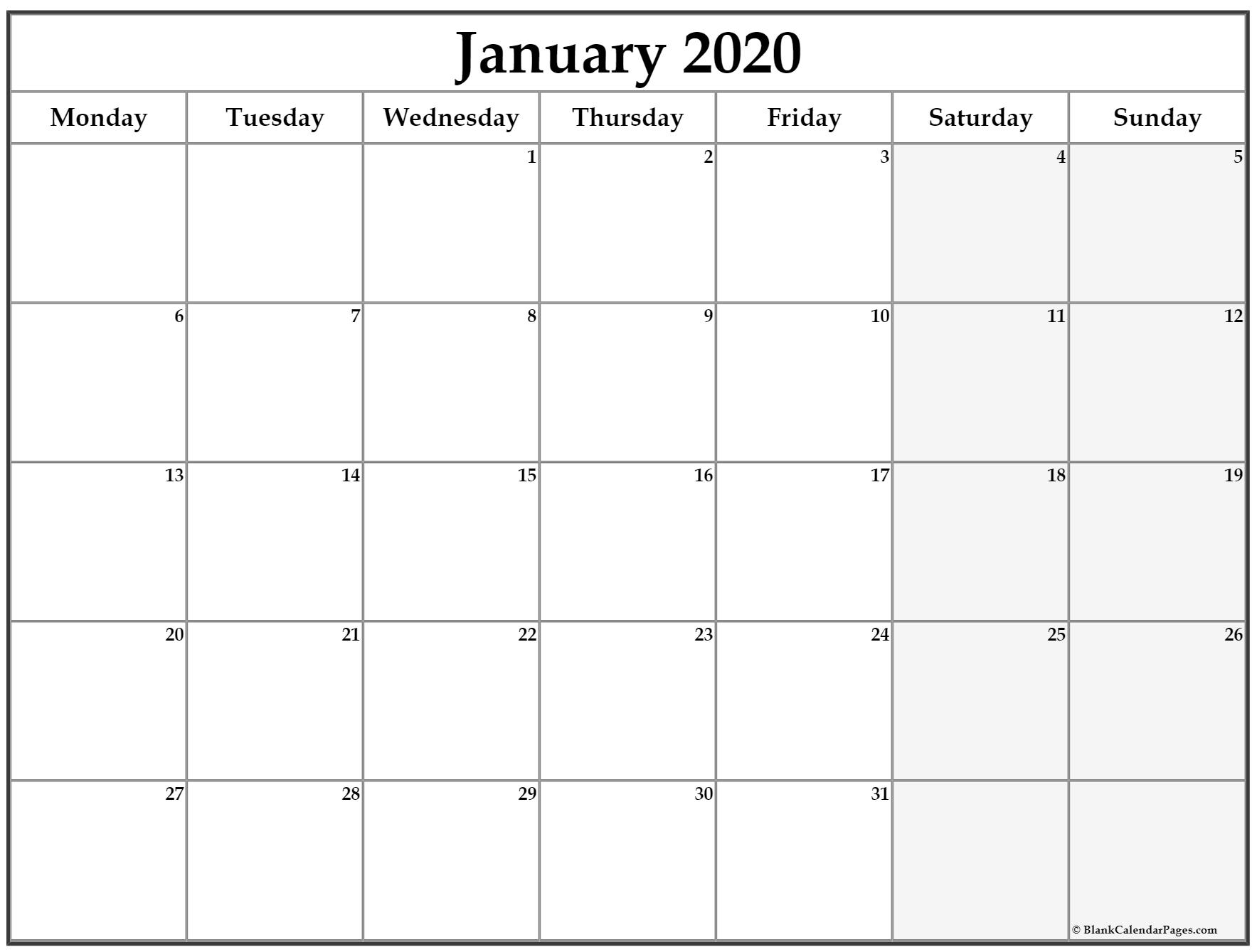 January 2020 Monday Calendar | Monday To Sunday in Calendar Monday Through Friday