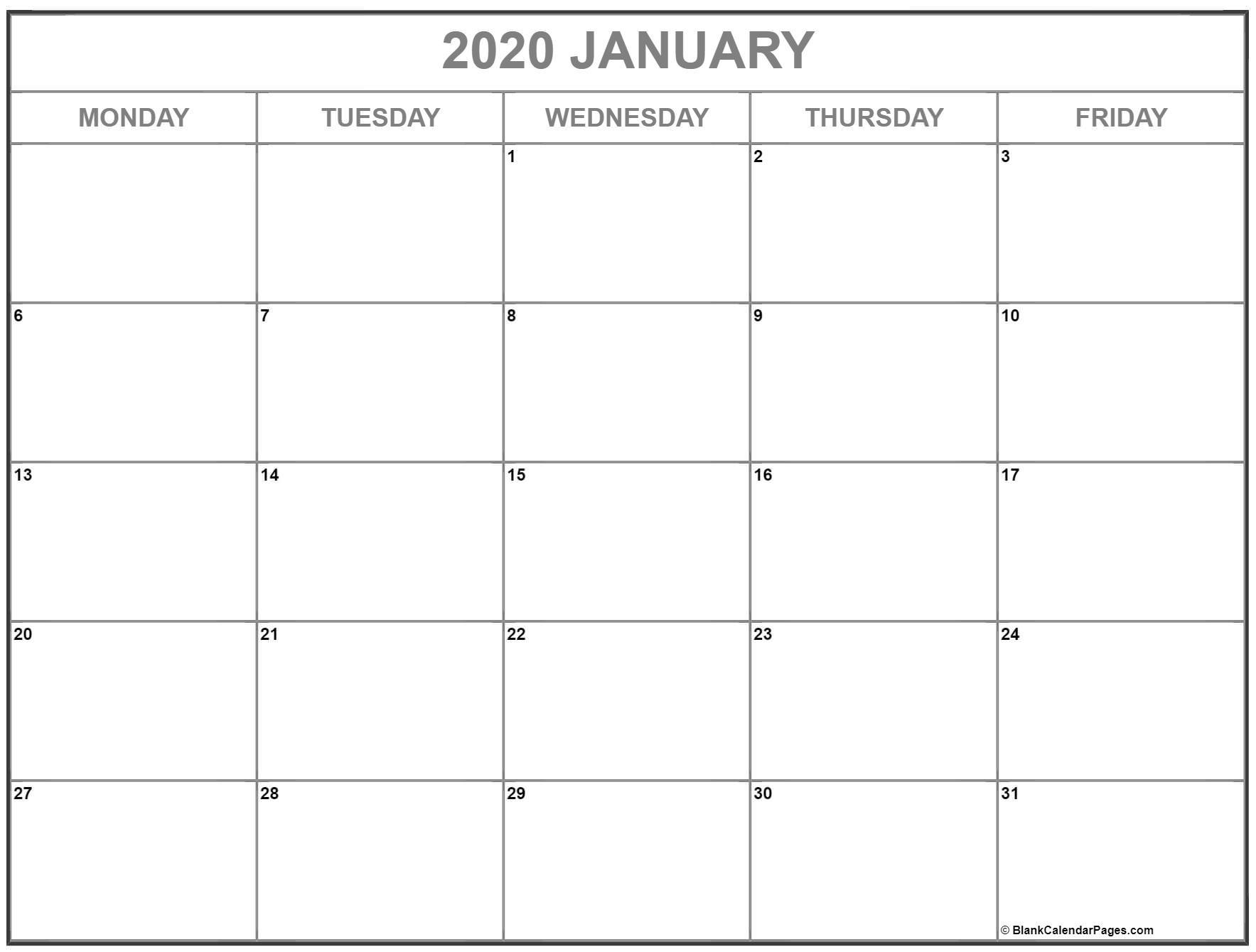 January 2020 Monday Calendar | Monday To Sunday intended for Monday Through Friday Calendar Template