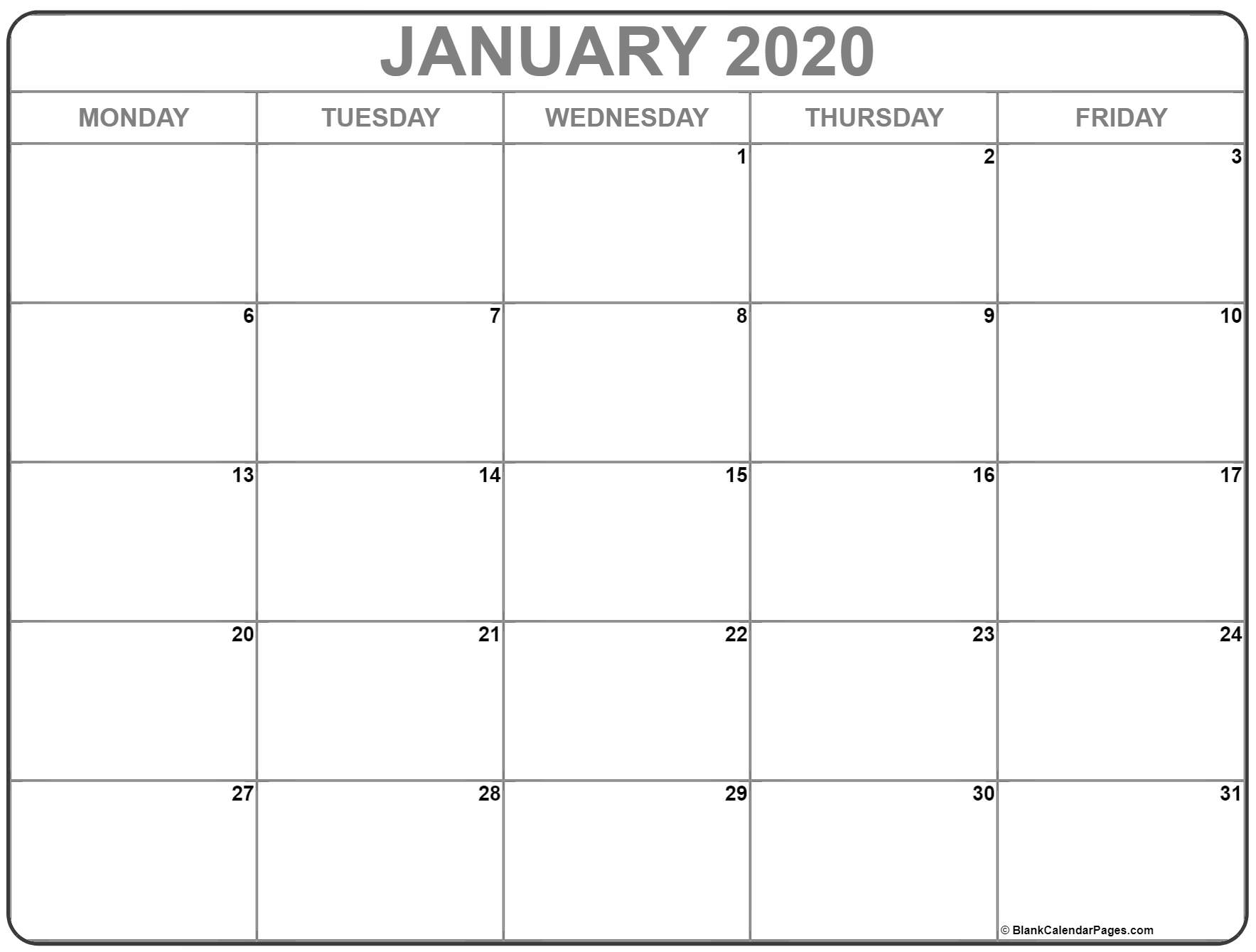 January 2020 Monday Calendar | Monday To Sunday pertaining to Monday Through Friday Blank Calendar
