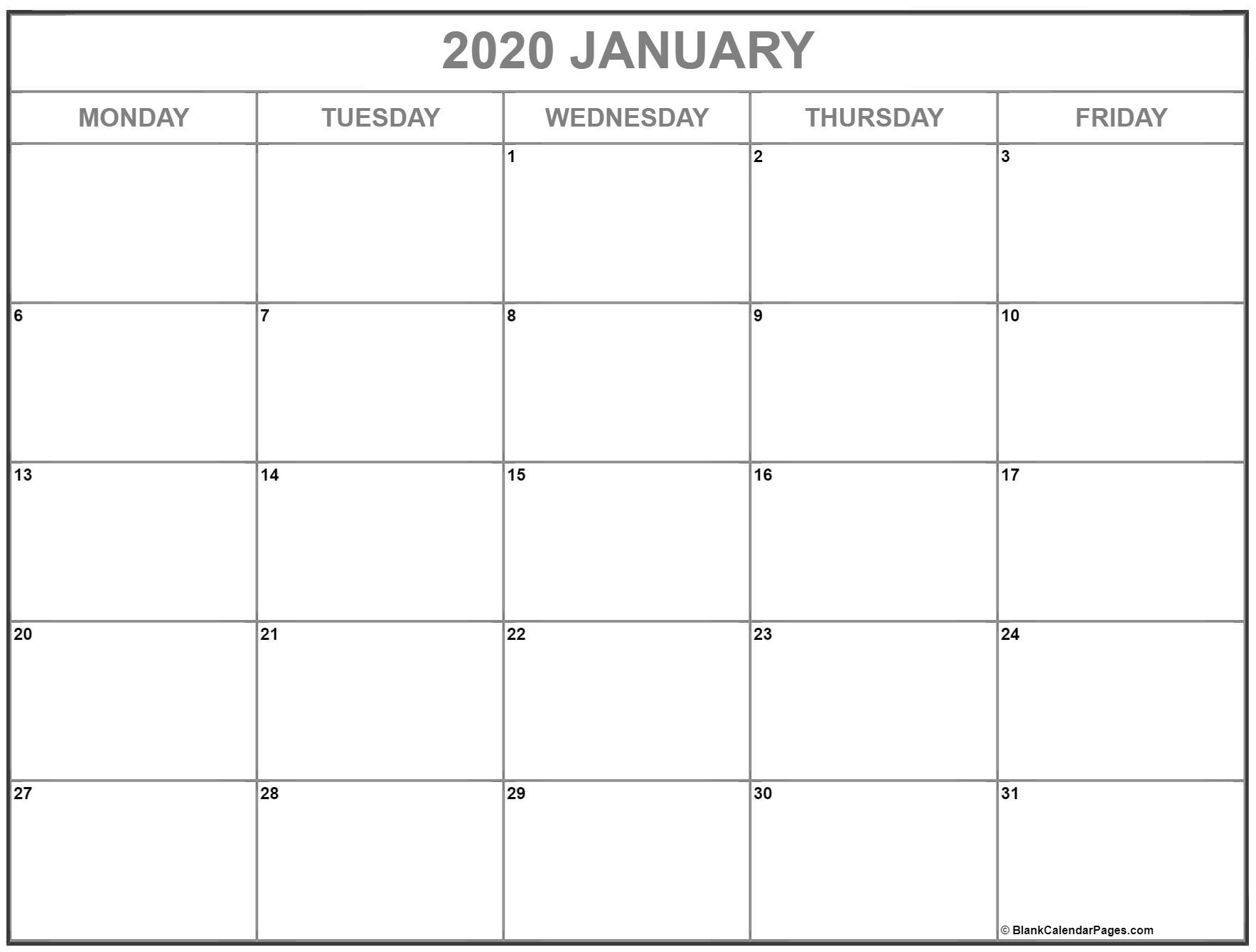 January 2020 Monday Calendar | Monday To Sunday regarding Calendar Template Monday Through Friday